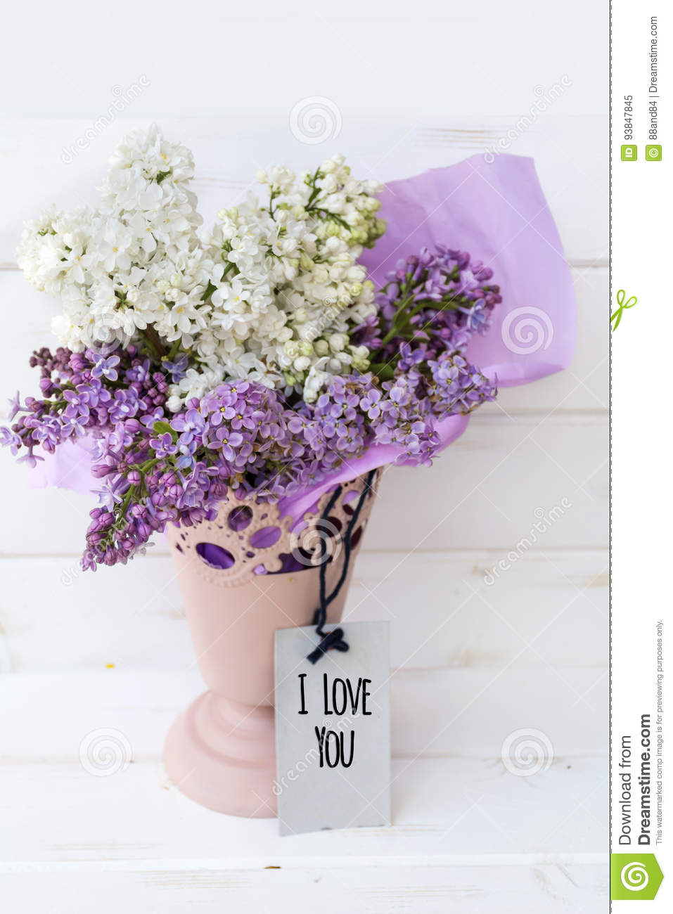 Beautiful Bouquet Of Lilac With I Love You Message Card Stock Image