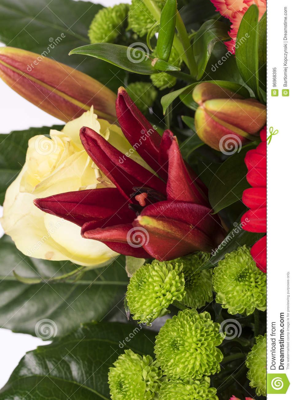 Beautiful Bouquet Of Many Colorful Flowers With Red On The Top Stock ...