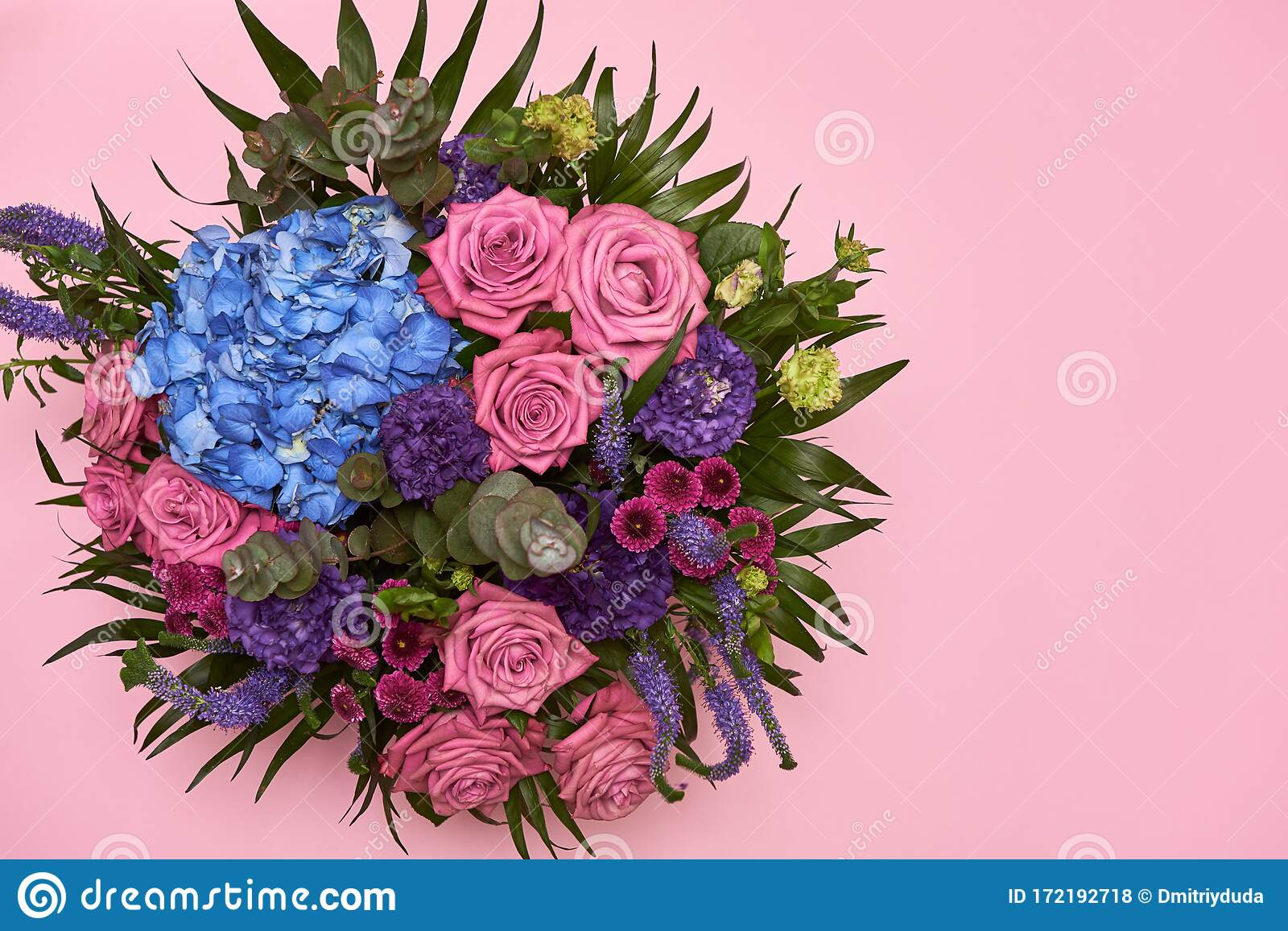 Beautiful Bouquet Of Pink Purple And Blue Flowers On Pastel Pink Background Copy Space Greeting Card For Womens Day Mothers Stock Photo Image Of Creative Concept 172192718