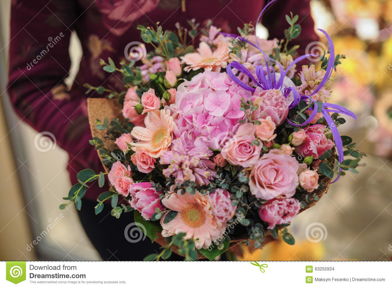 Beautiful Bouquet Of Pink And Purple Flowers Stock Photo Image Of