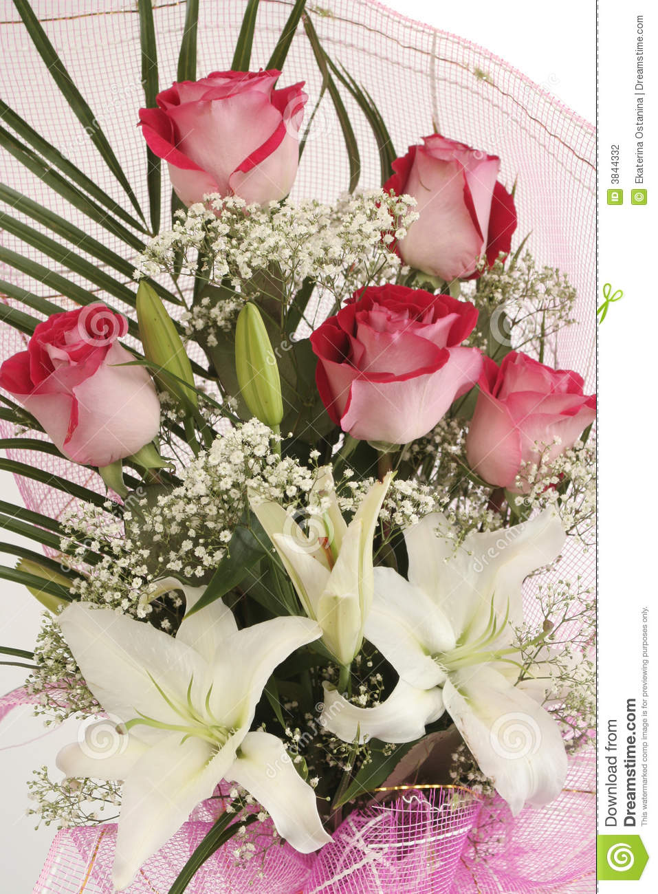 Beautiful Bouquet Of Pink Roses Stock Photo - Image of colourfully ...