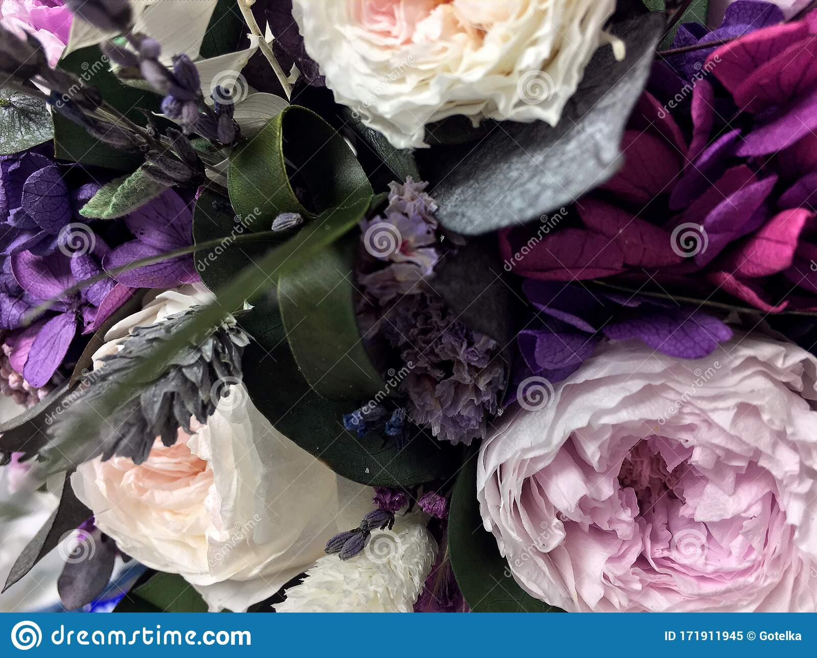 Beautiful Bouquet Of Preserved Flowers Hydrangea Eucalyptus Purple And White Peony Roses Dried Flowers Bouquet Of Spring Stock Image Image Of Flower Garden 171911945