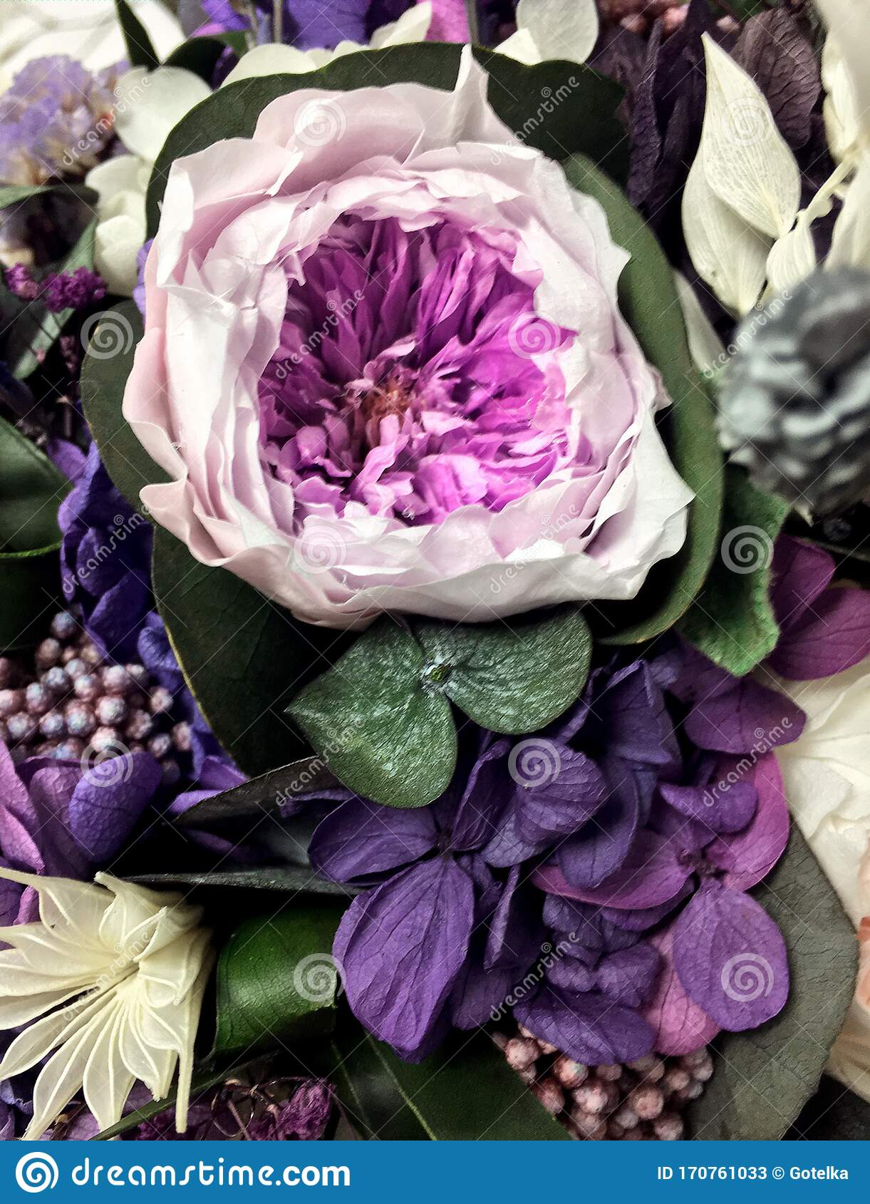 Beautiful Bouquet Of Preserved Flowers Hydrangea Eucalyptus Purple And White Peony Roses Dried Flowers Bouquet Of Spring Stock Image Image Of Leaves Flower 170761033