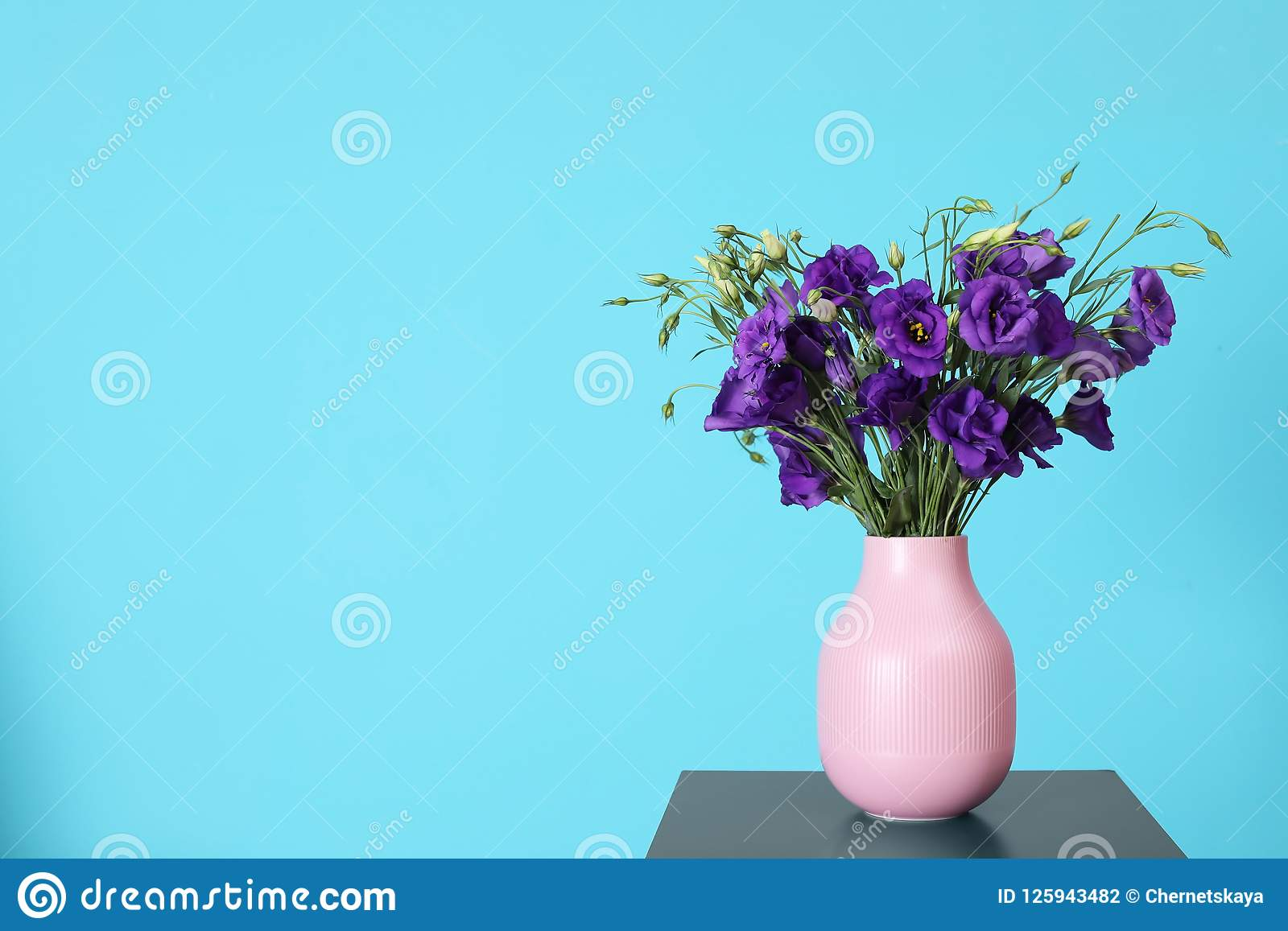 Beautiful bouquet of purple eustoma flowers