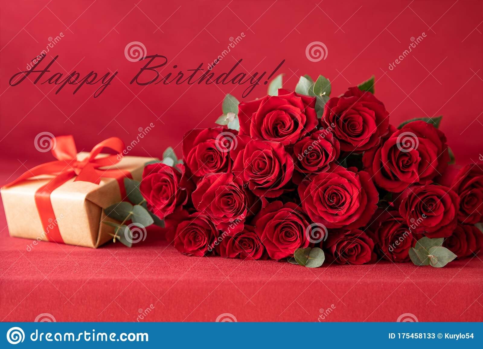 Beautiful Bouquet Of Red Roses With Gift Box On The Red Background Happy Birthday Greeting Card Concept Stock Image Image Of Copy Border 175458133