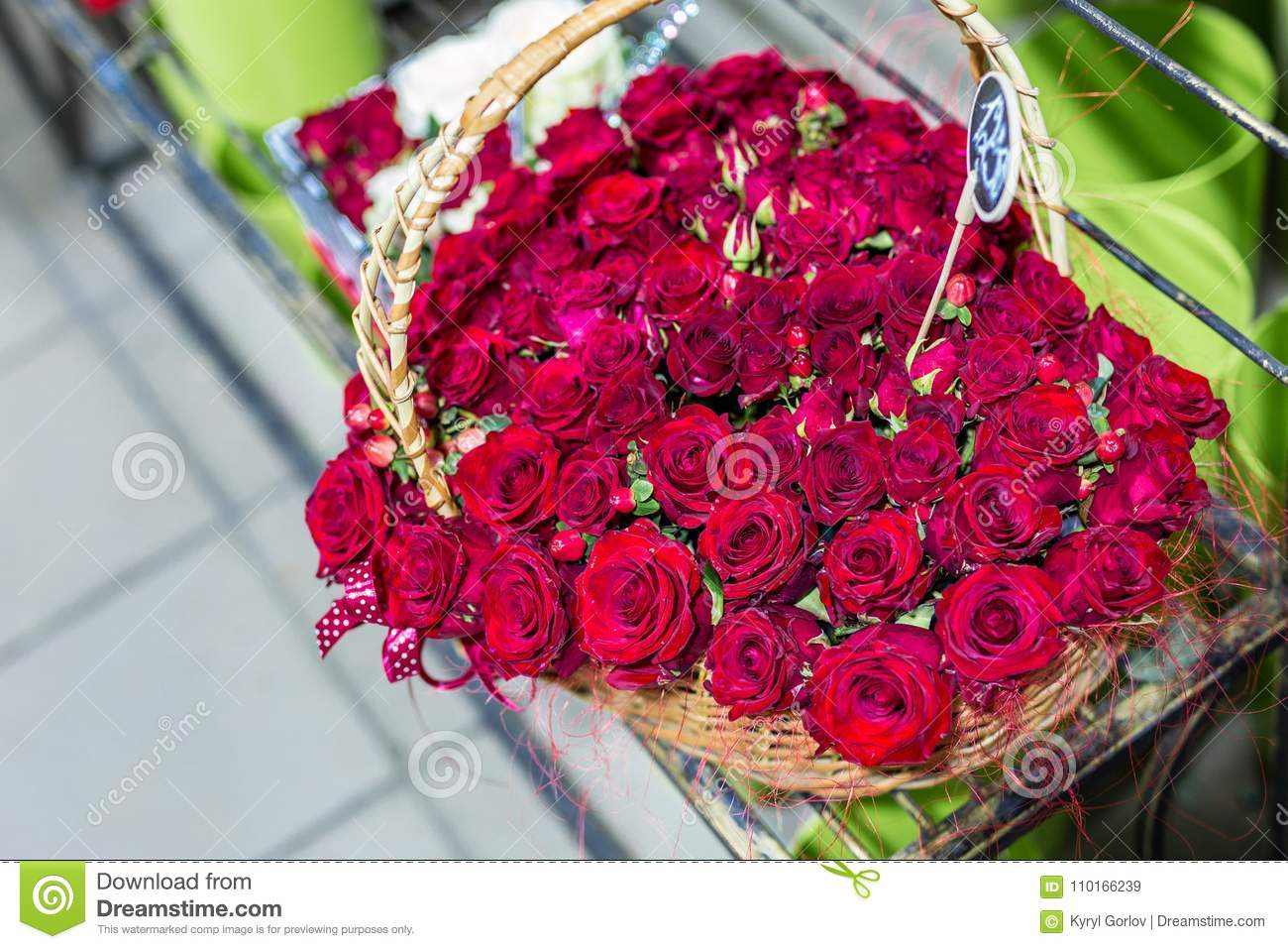 Beautiful Bouquet Of Red Roses Iin Form Of Heart Flowers In Wicker