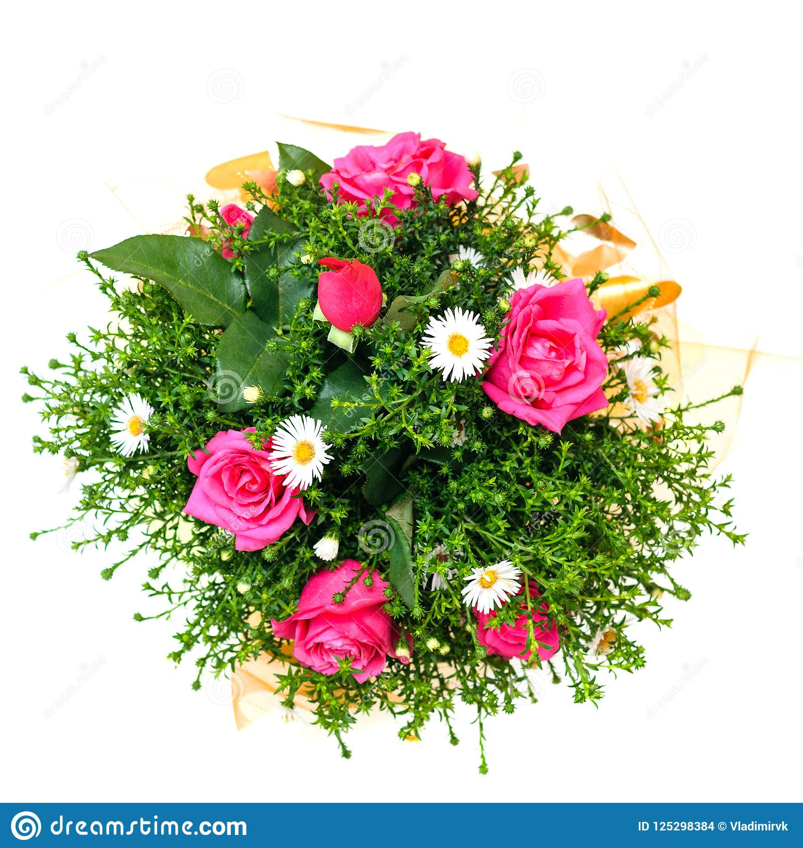 Beautiful Bouquet Of Red And White Flowers With Green Plants On