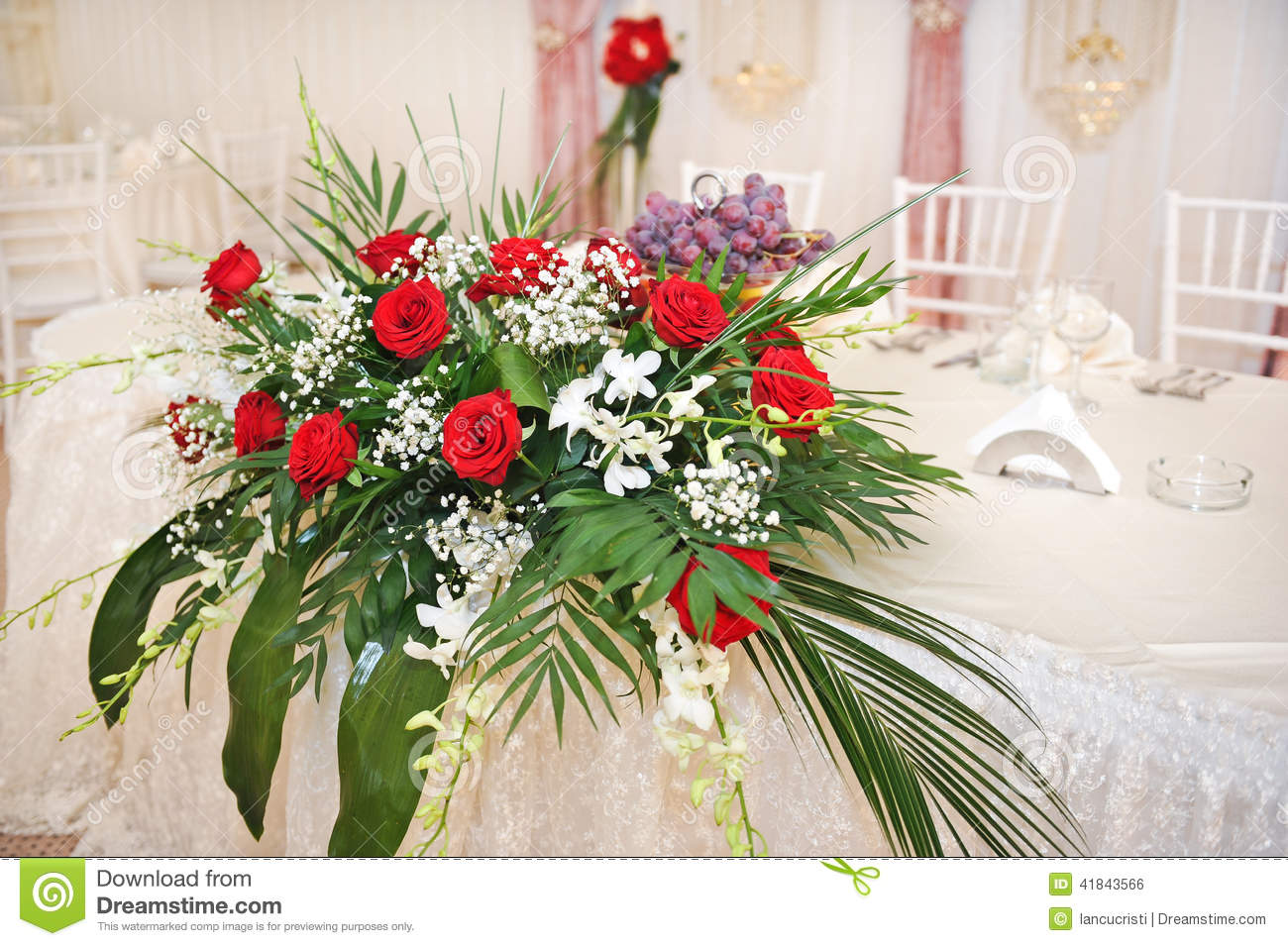 Beautiful Bouquet Of Rose Flowers On Table Wedding Bouquet Of Red