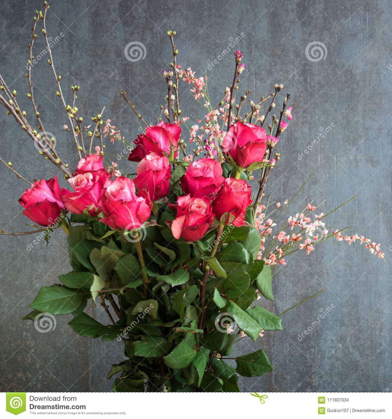 Beautiful Bouquet Of Roses For Congratulations Stock Photo Image