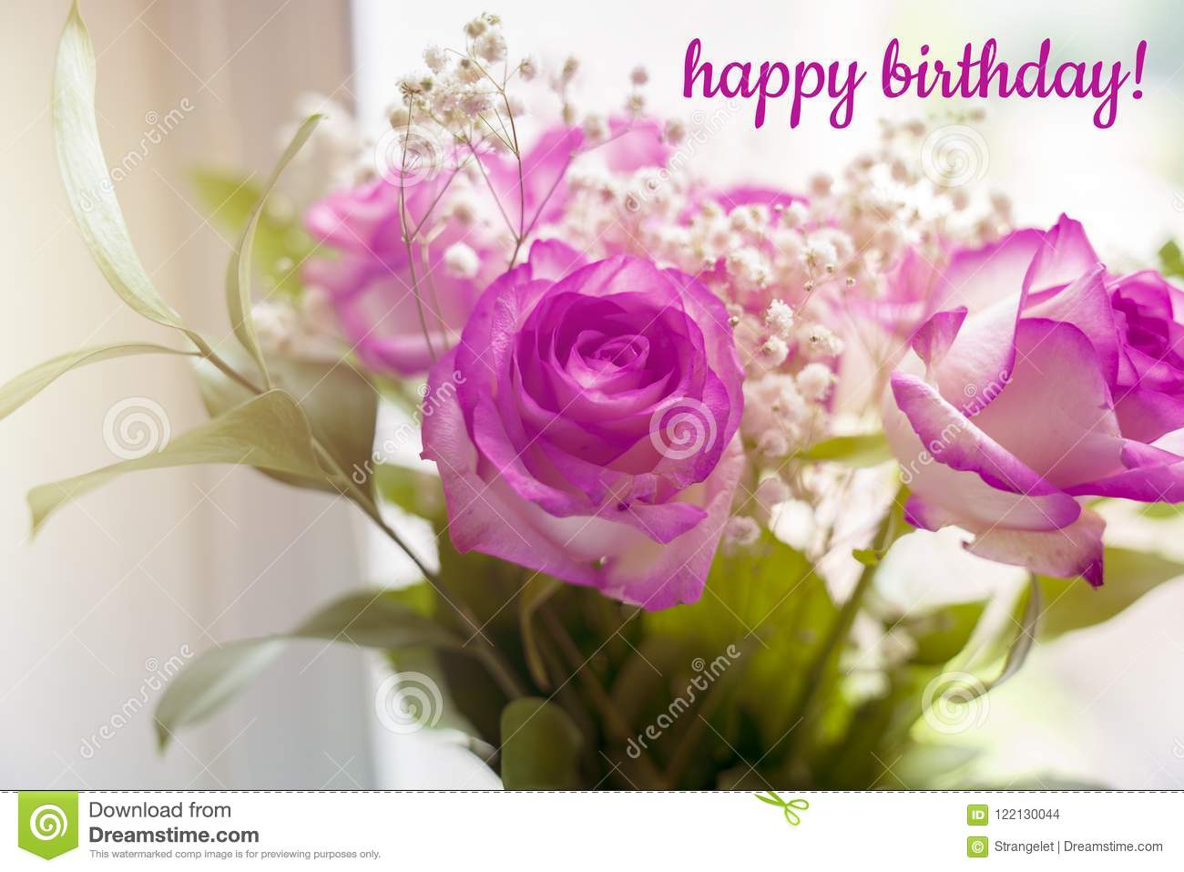 Beautiful Bouquet Of Roses On A Window With Text Happy Birthday