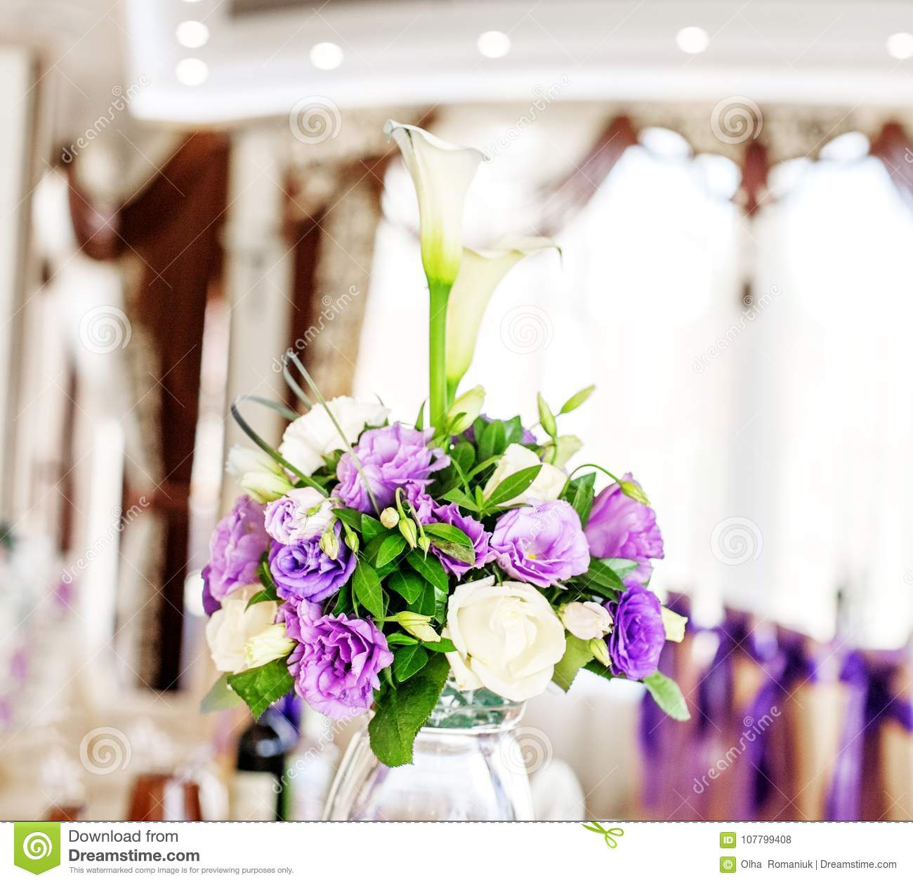 Beautiful Bouquet In A Vase Purple And White Flowers The Conce