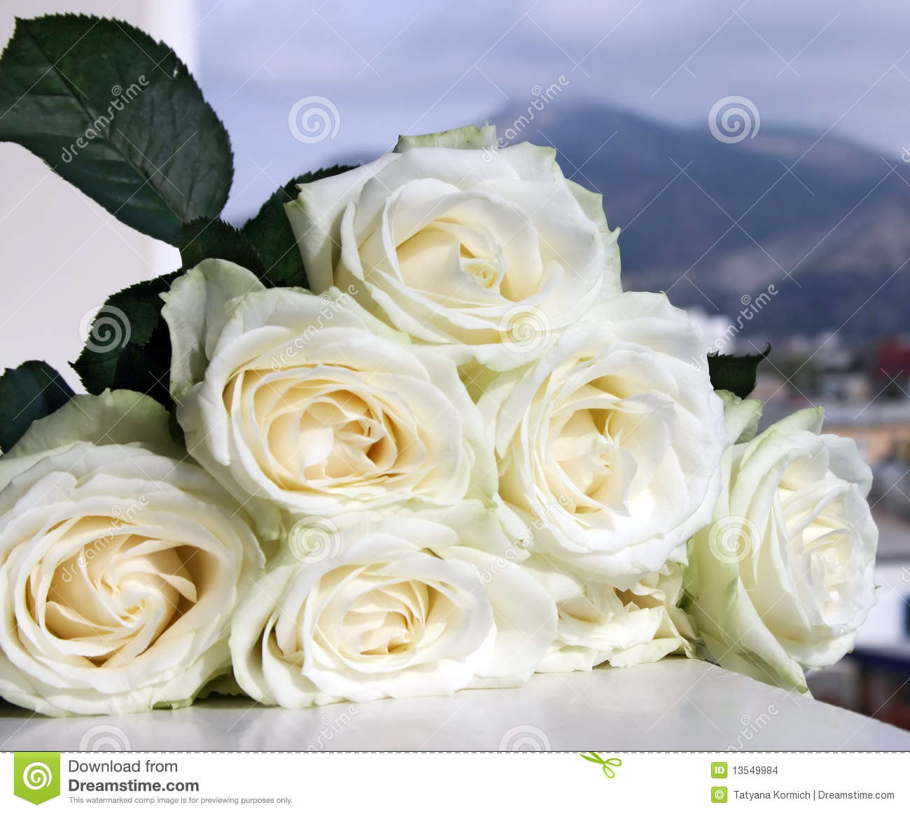 Beautiful Bouquet Of White Roses Stock Photo Image Of Background