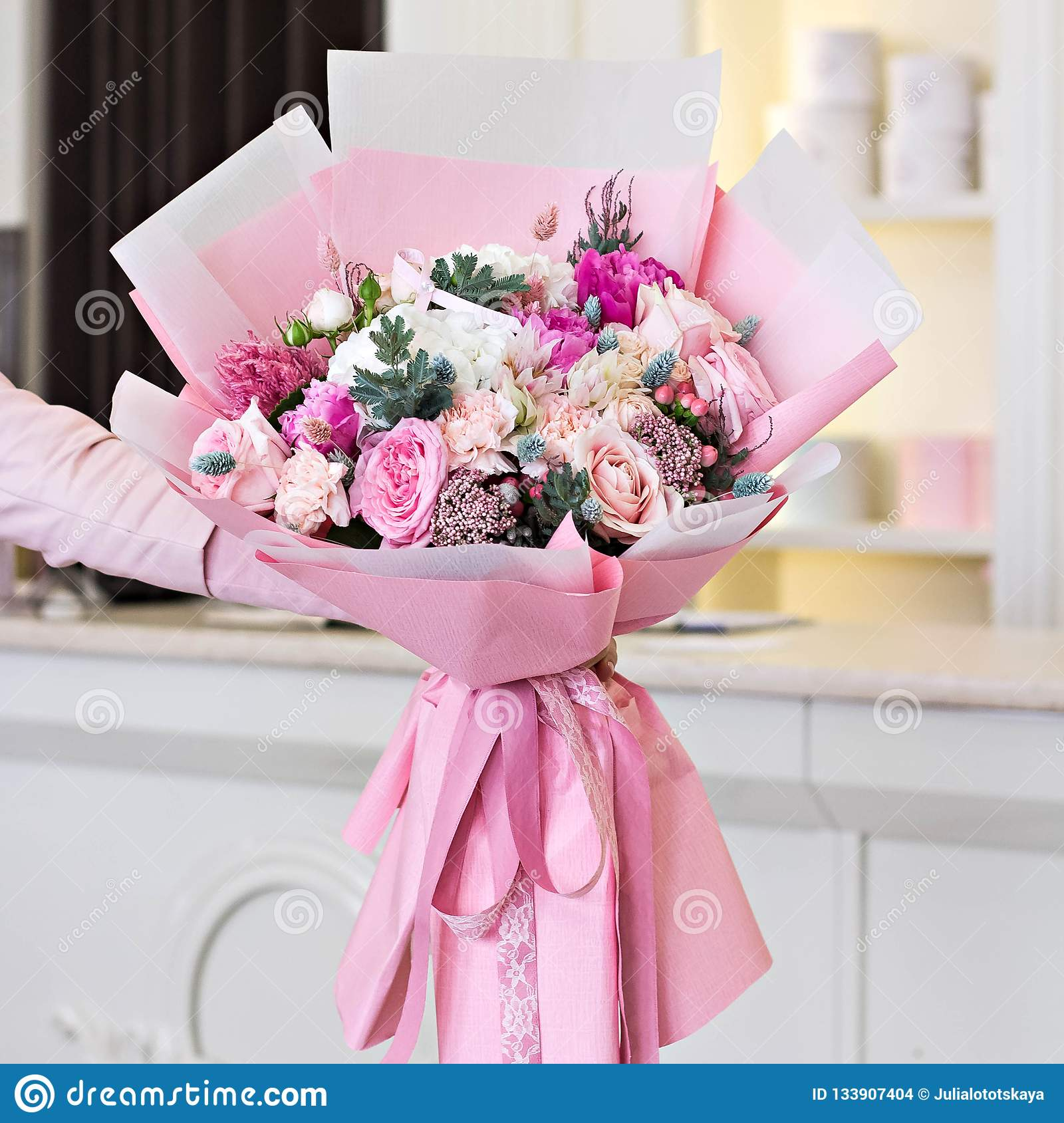 Beautiful Bouquet In Pink Wrapping Paper Roses And Other Delicate