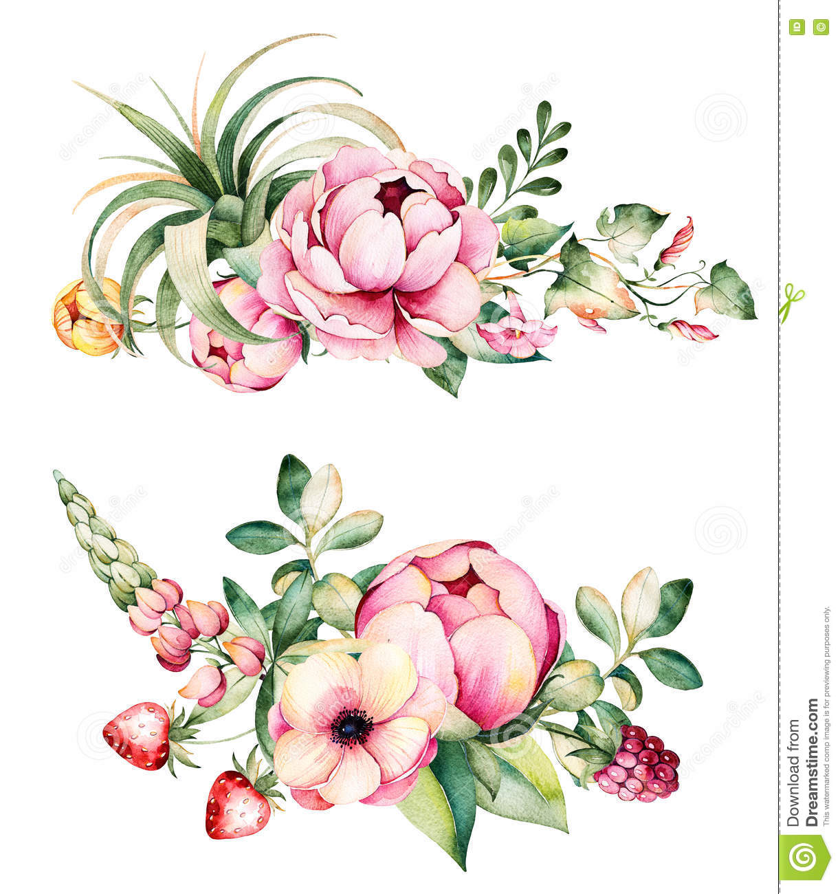 2 Beautiful Bouquets With Flower,peonies,leaves,branches,lupin,air ...