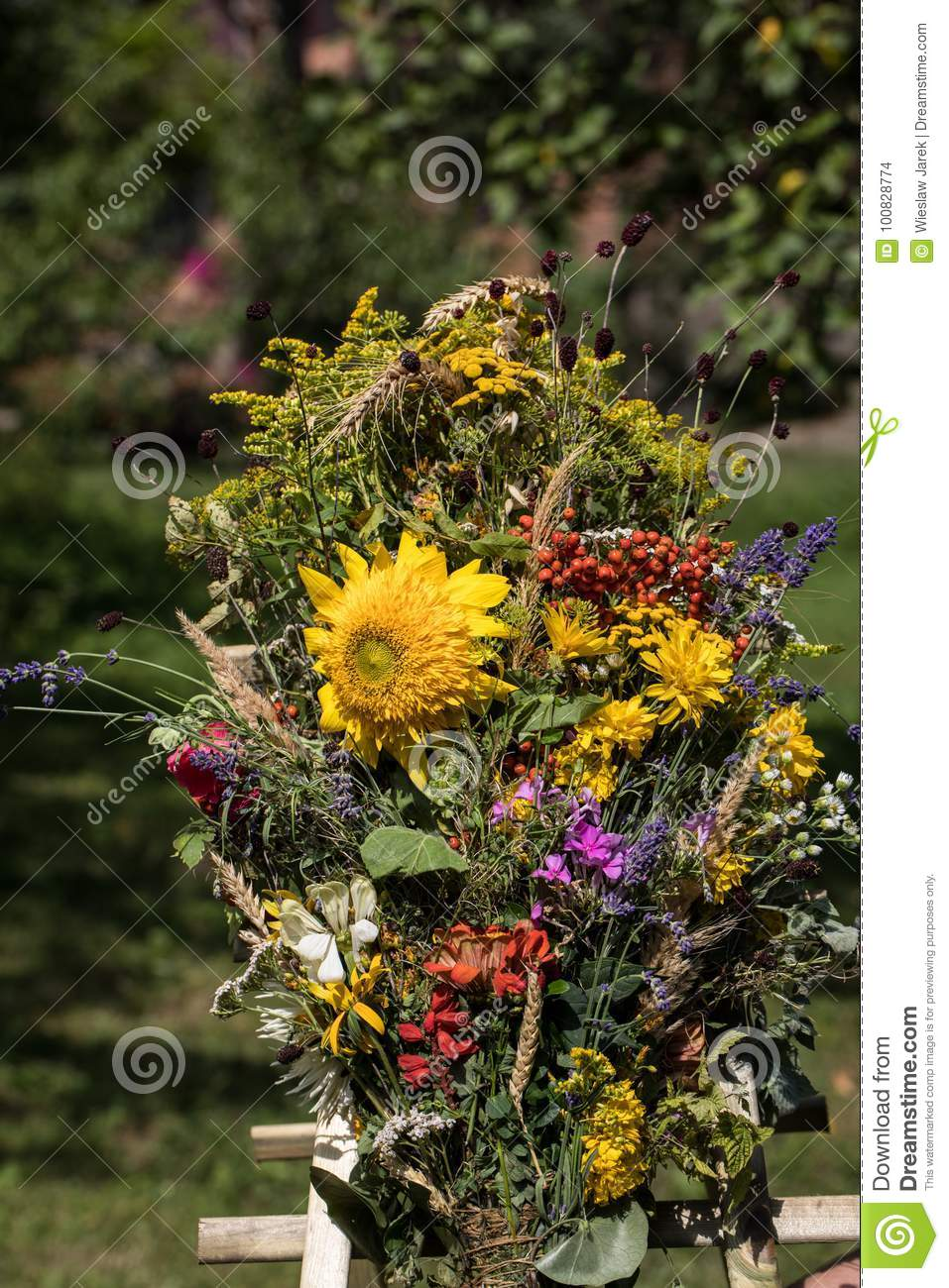 Beautiful Bouquets From Flowers And Herbs Stock Photo - Image of ...