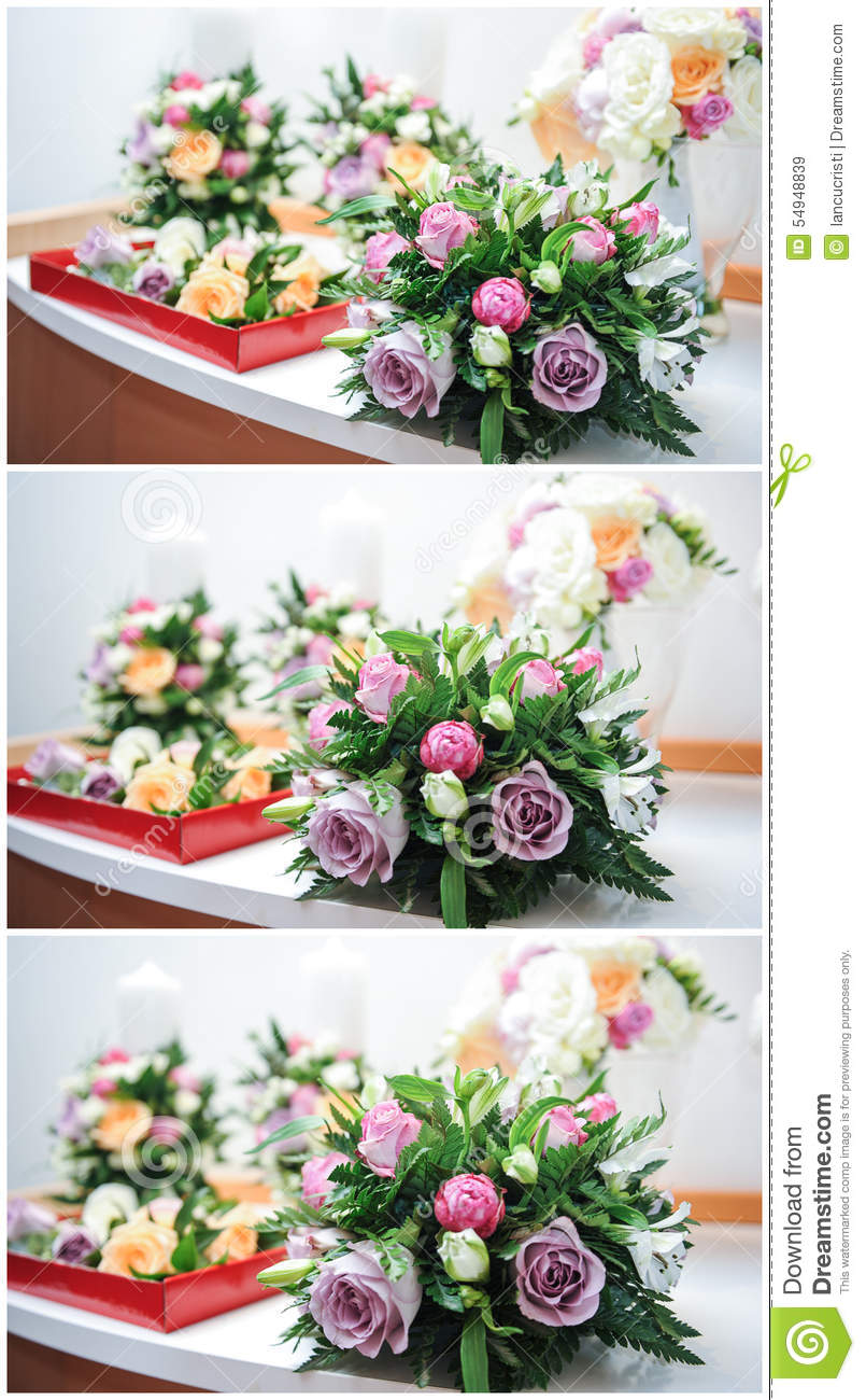 Beautiful bouquets of rose flowers on table wedding for Different color roses bouquet