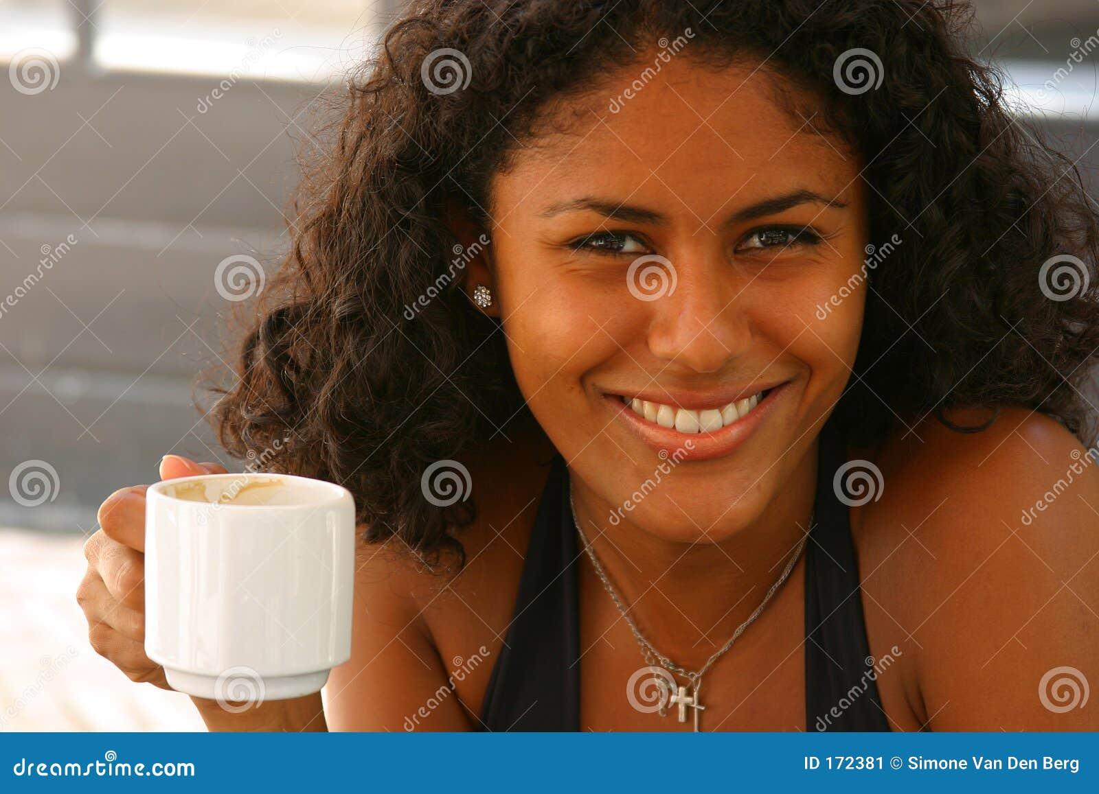 Beautiful Brazilian Woman Having A Coffee Stock Image