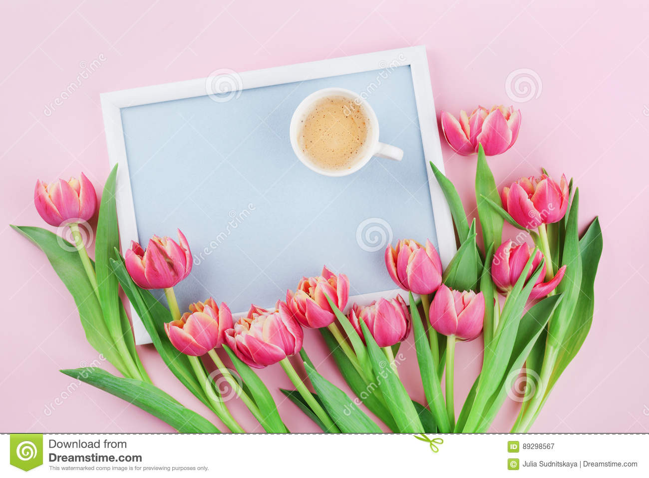 Beautiful Breakfast With Cup Of Coffee Spring Tulip Flowers And