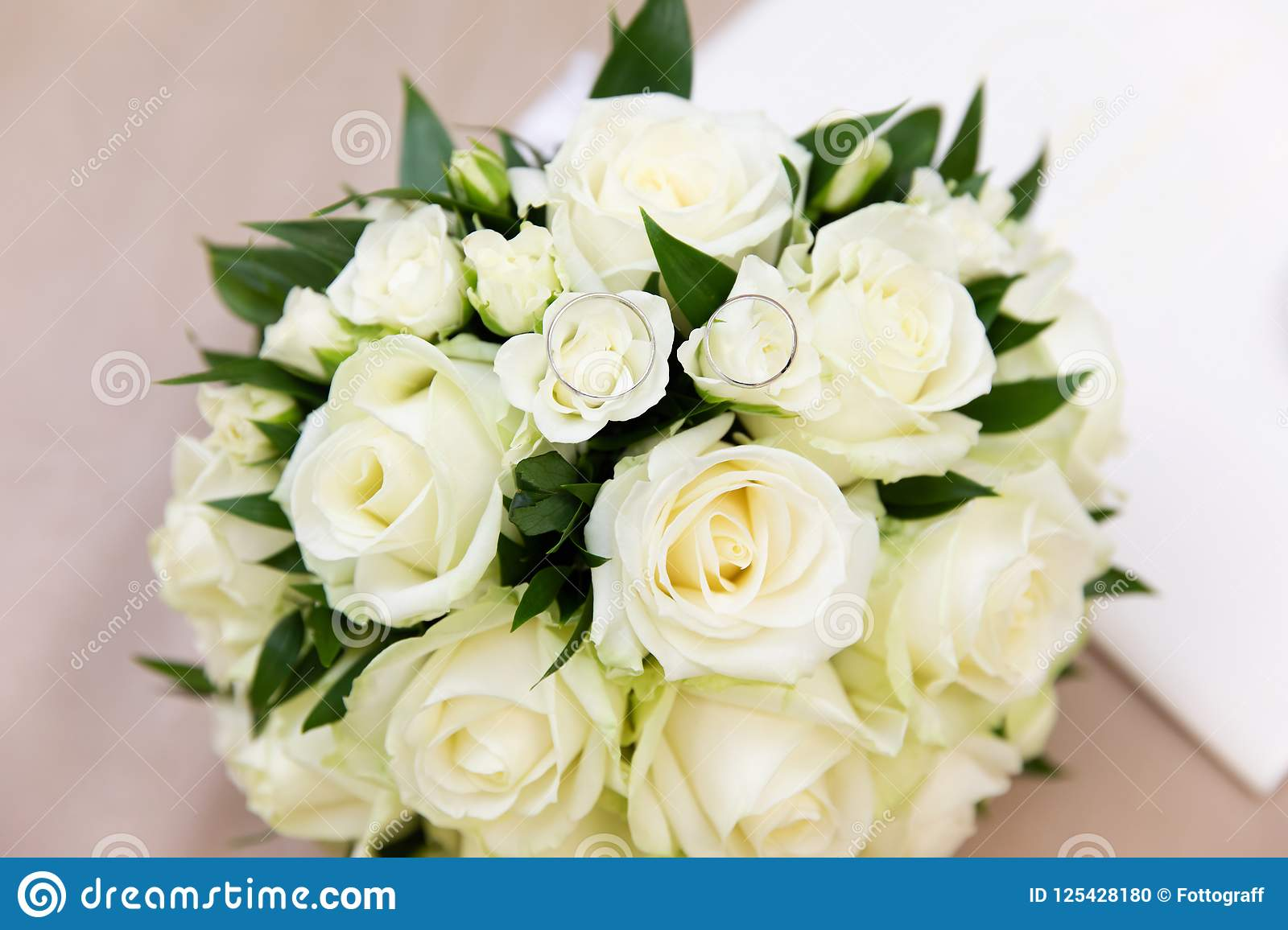 Beautiful Bridal Bouquet With Different Flowers Stock Photo Image