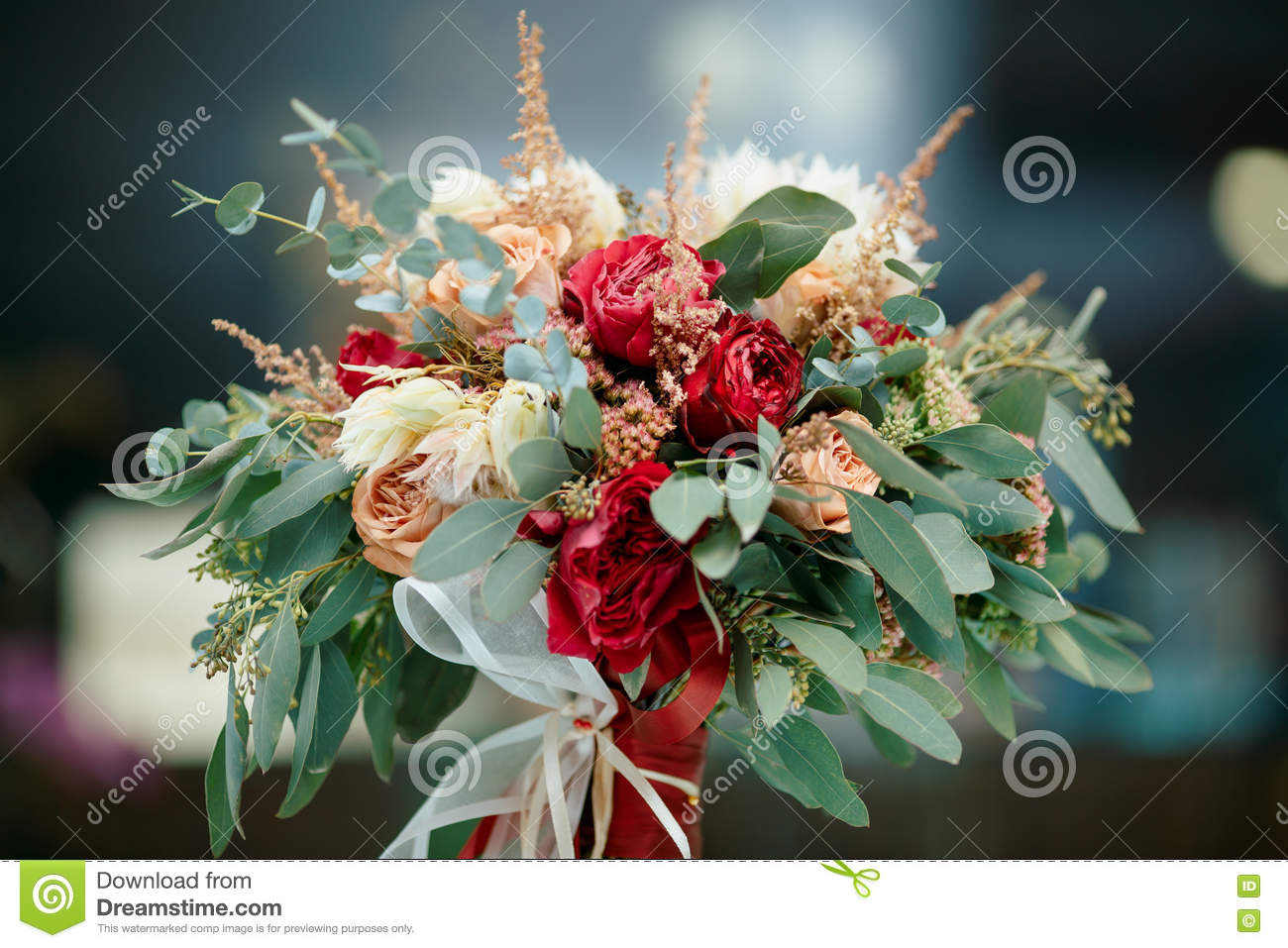 Beautiful Bridal Bouquet Of Fresh Flowers Stock Image Image Of