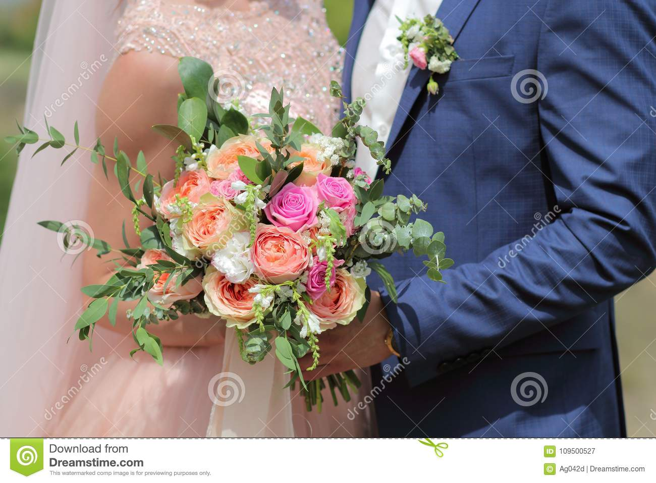 Beautiful Bridal Bouquet In Hands Of The Bride Wedding Bouquet Of