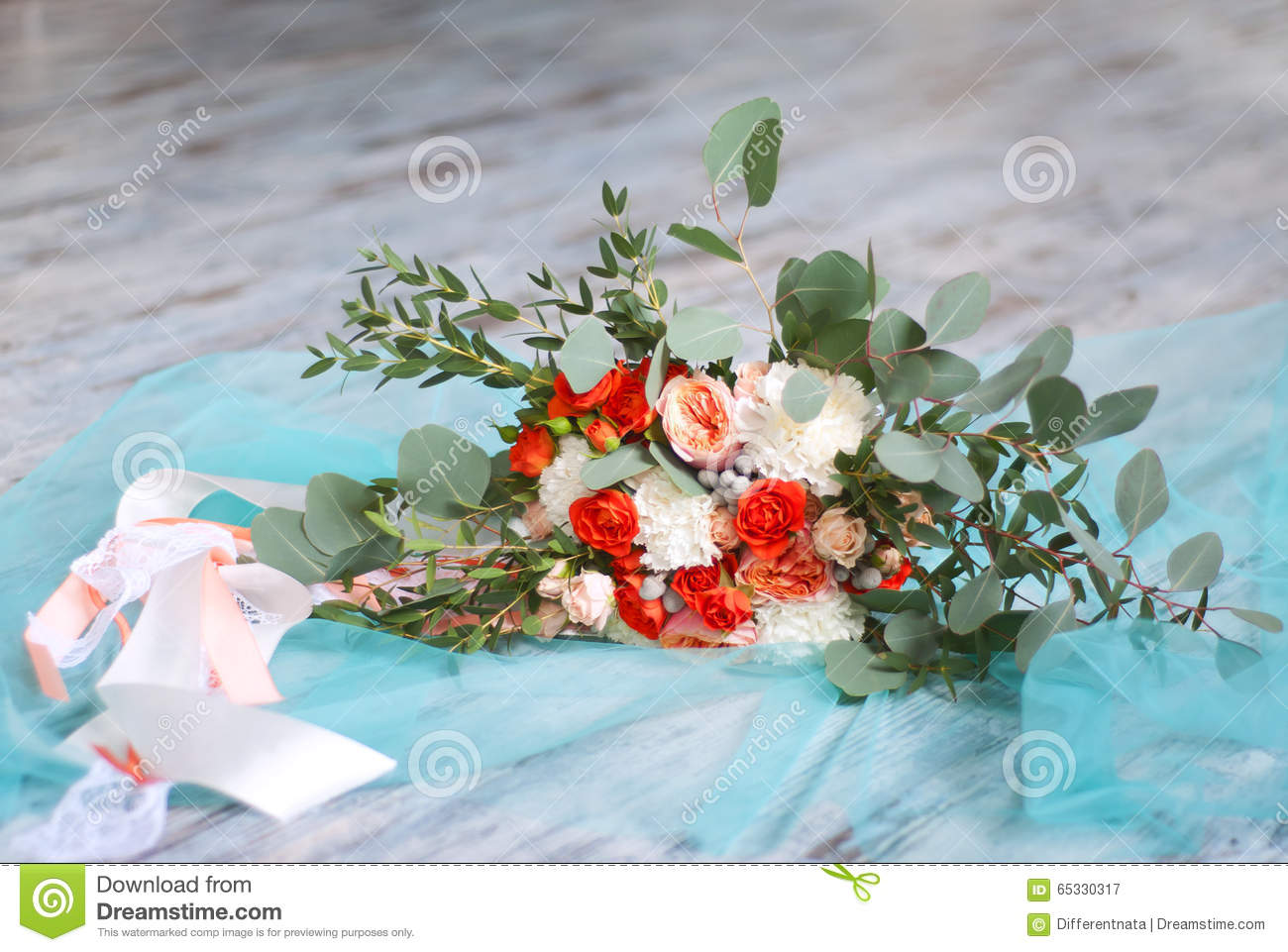 Beautiful Bridal Bouquet Made Of White And Orange Flowers Stock