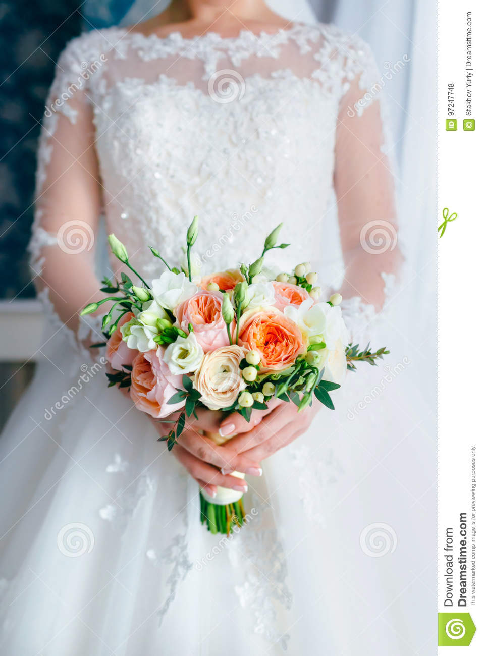 Beautiful Bridal Bouquet With White Roses And Peach Peonies In A Bride Hands In White Dress Wedding Morning Close Up Stock Photo Image Of Holding Celebration 97247748