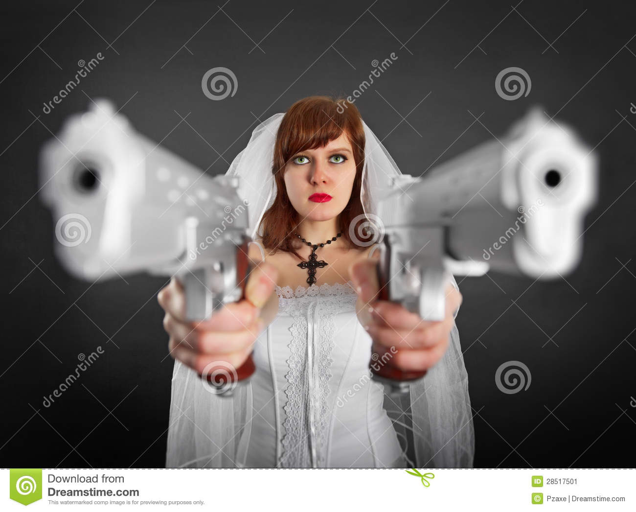 Beautiful Bride Armed With Two Pistols Stock Image - Image ...