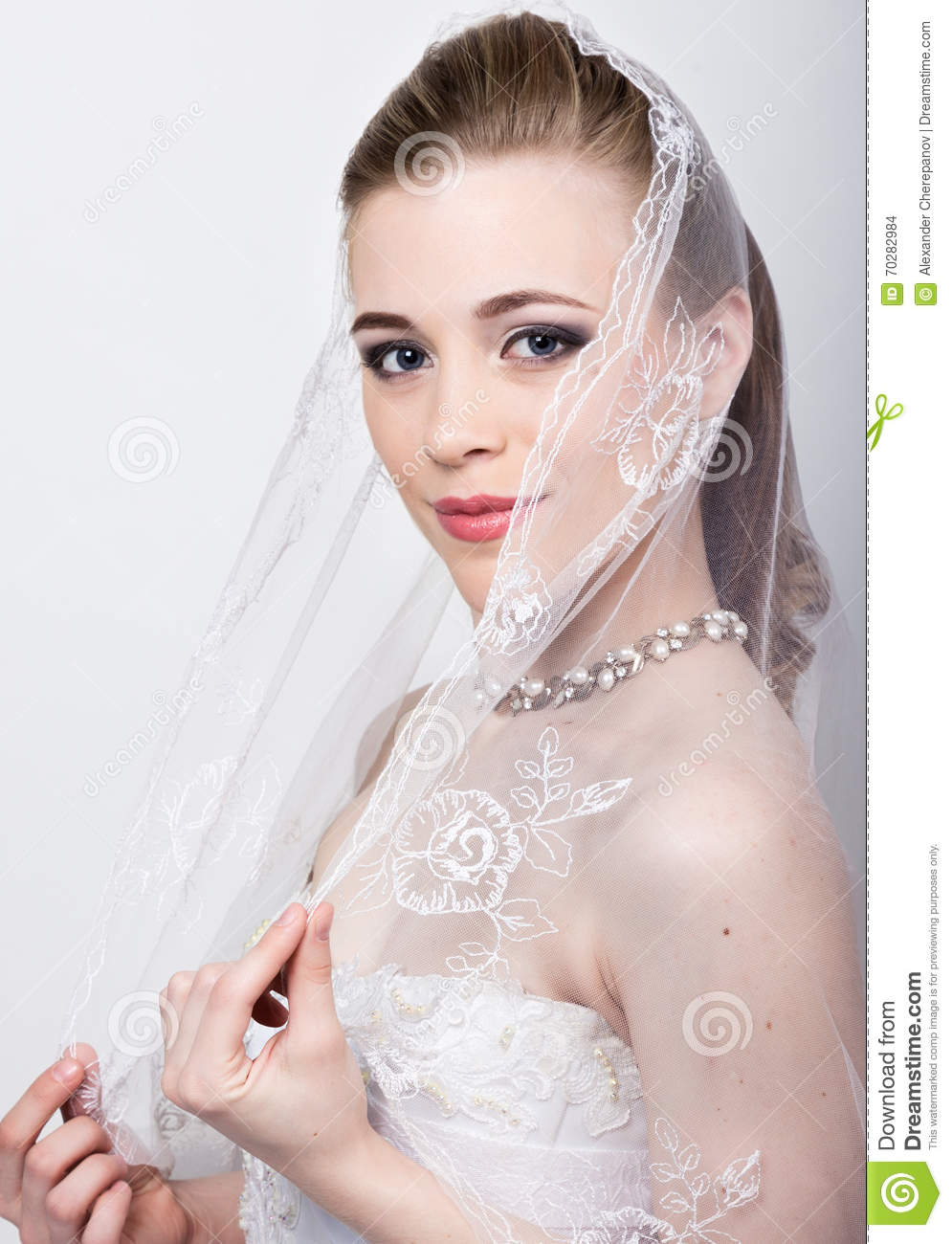 Beautiful Bride With Fashion Wedding Hairstyle. Close-up Portrait Of ...