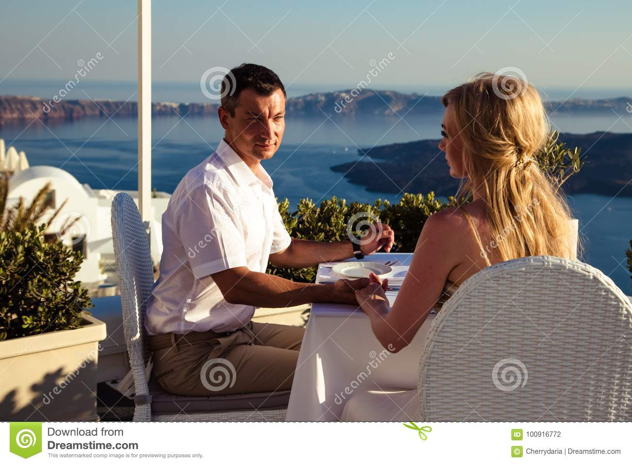 Download Beautiful Bride And Groom In Their Summer Wedding Day On Greek Island Santorini Stock Photo - Image of dress, good: 100916772