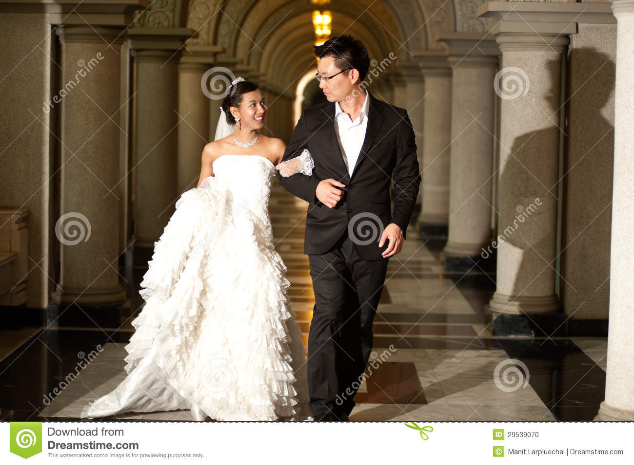 A Beautiful Bride And Handsome Groom At Christian Church During ...