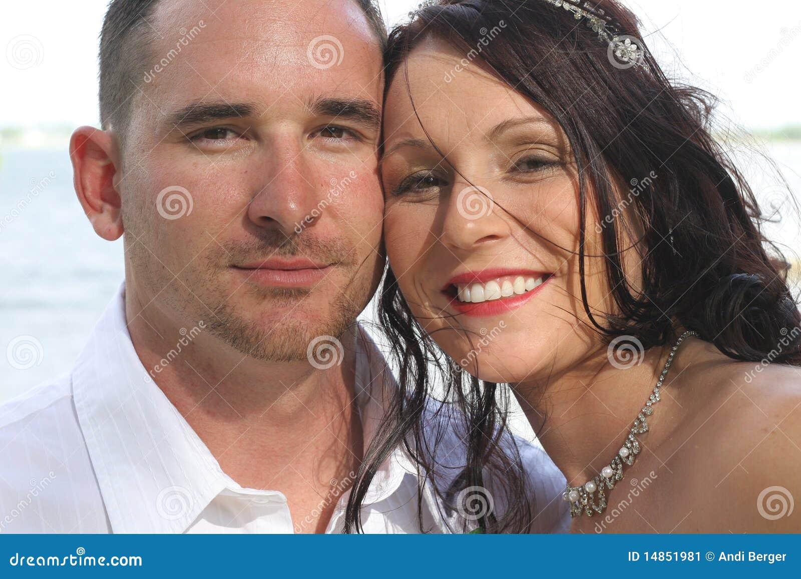 Beautiful bride and husband headshot