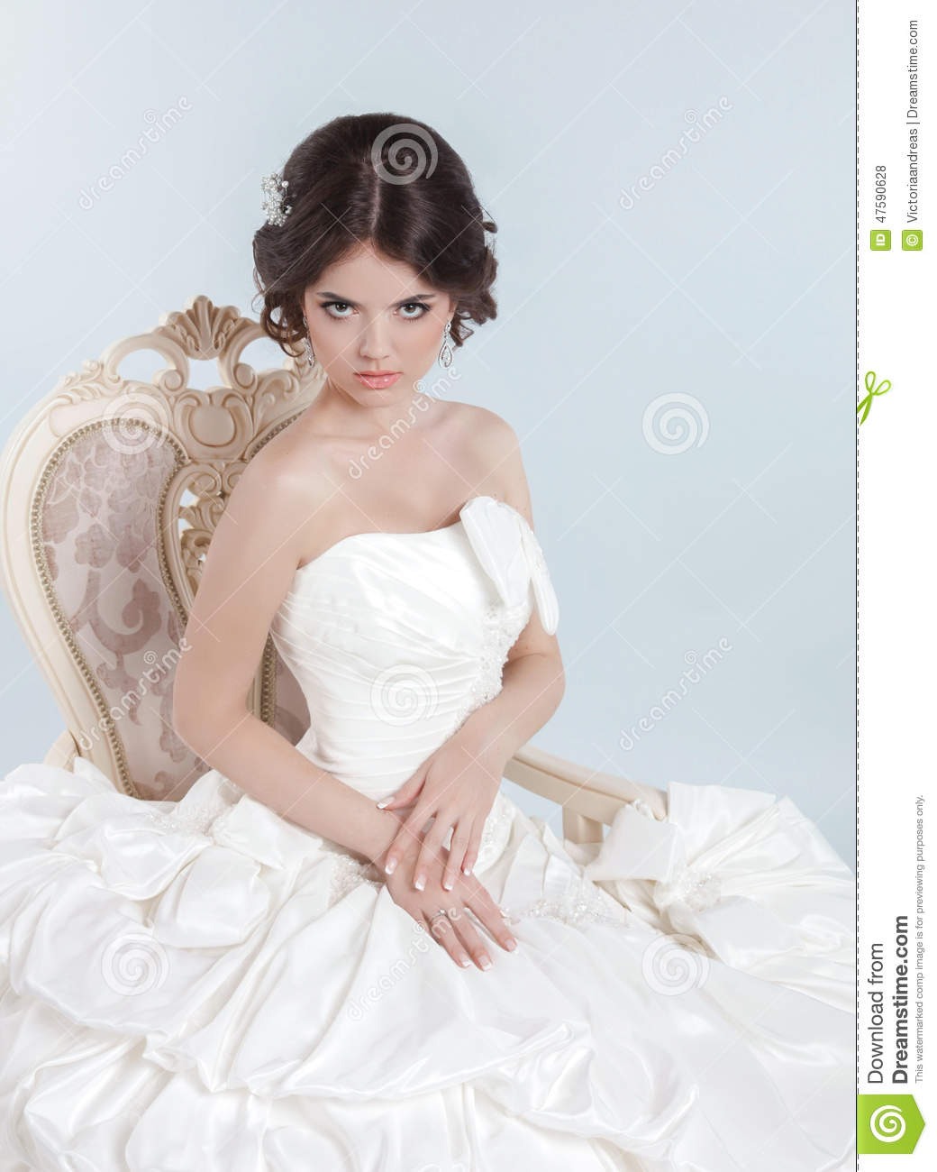Beautiful bride model girl wearing in wedding dress with for Woman in wedding dress