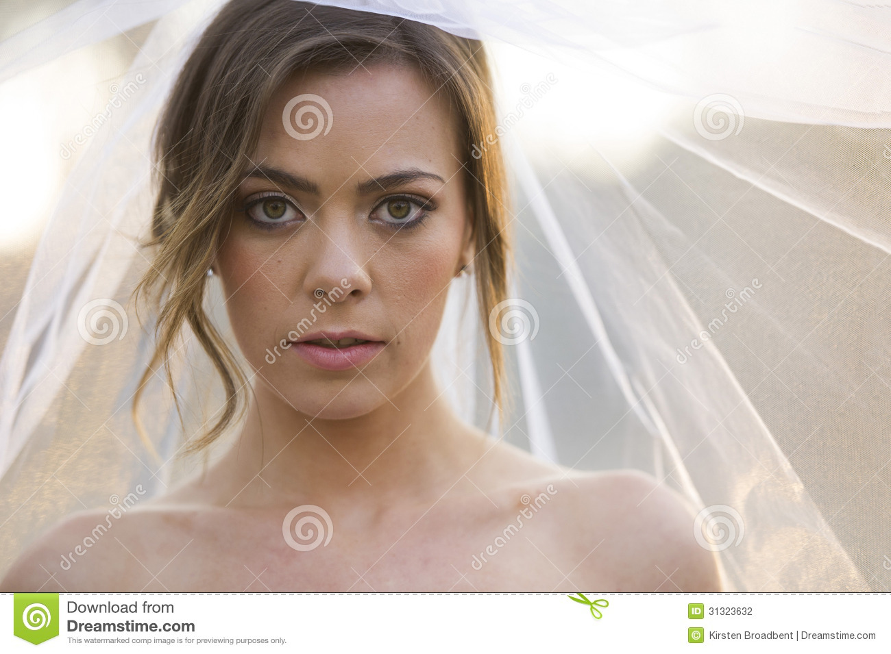 Beautiful Bride In Natural Outdoor Environment Stock