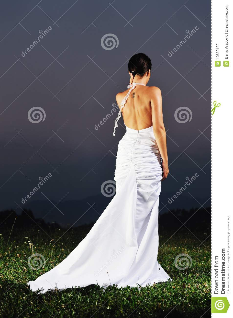 Beautiful Bride Outdoor After Wedding Ceremony Stock