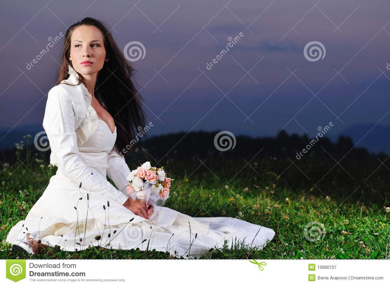 beautiful bride outdoor after wedding ceremony royalty free stock photography image 10680107. Black Bedroom Furniture Sets. Home Design Ideas