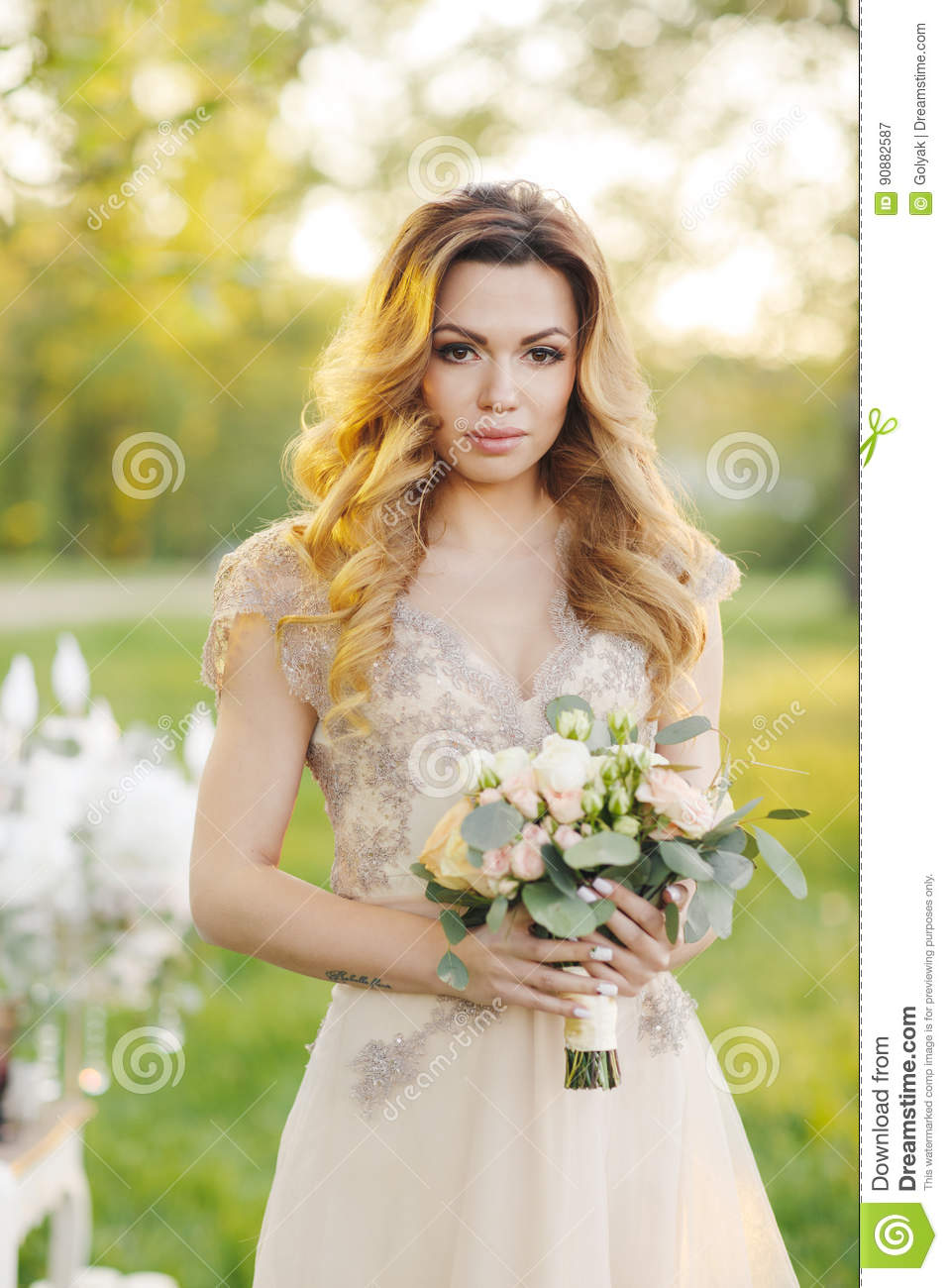 Beautiful Bride Outdoors In A Wedding Dress Stock Image Image Of