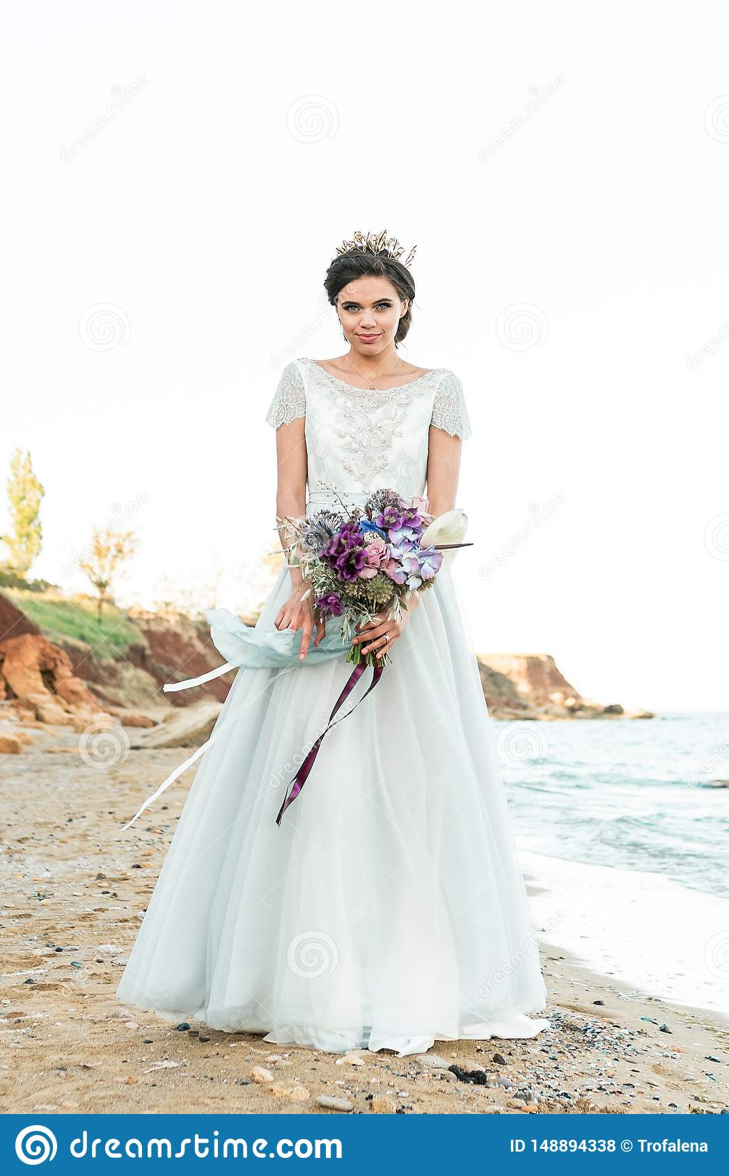 Beautiful Bride Outdoors Wedding Hairstyle And Make Up Stock