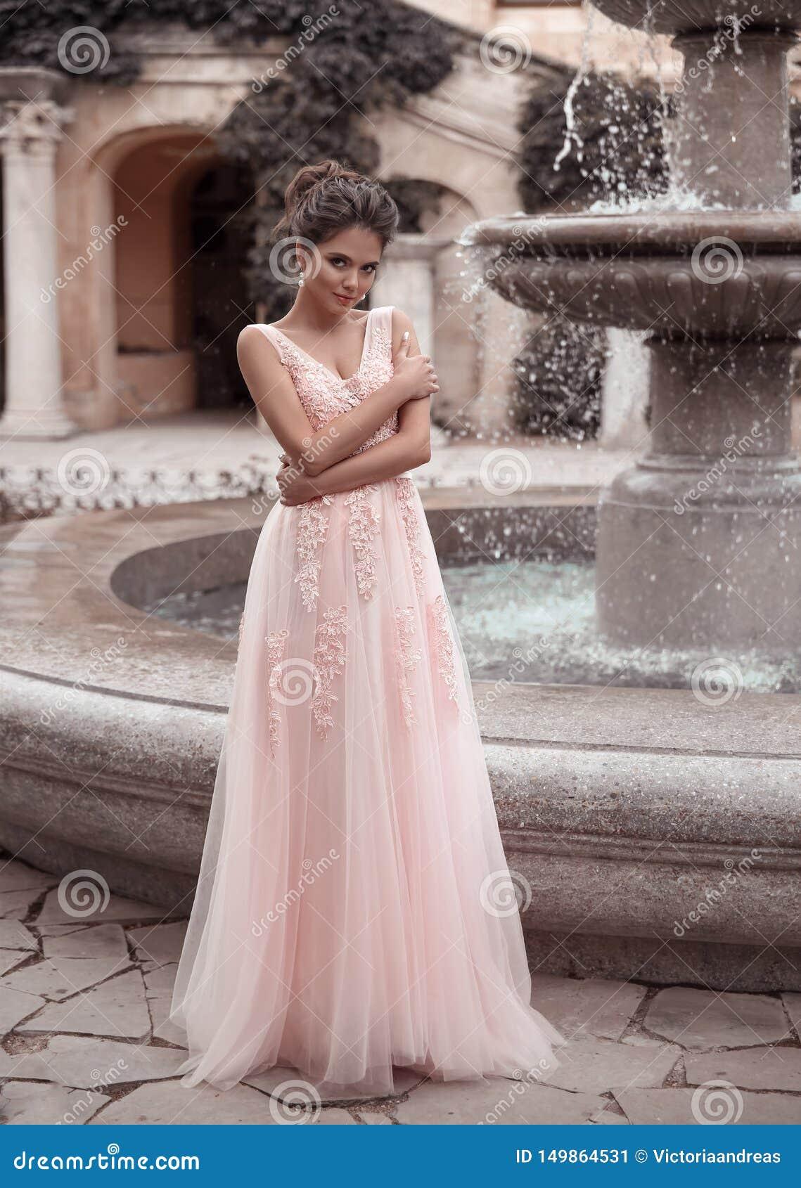 Beautiful Bride In Pink Wedding Dress Outdoor Romantic Portrait