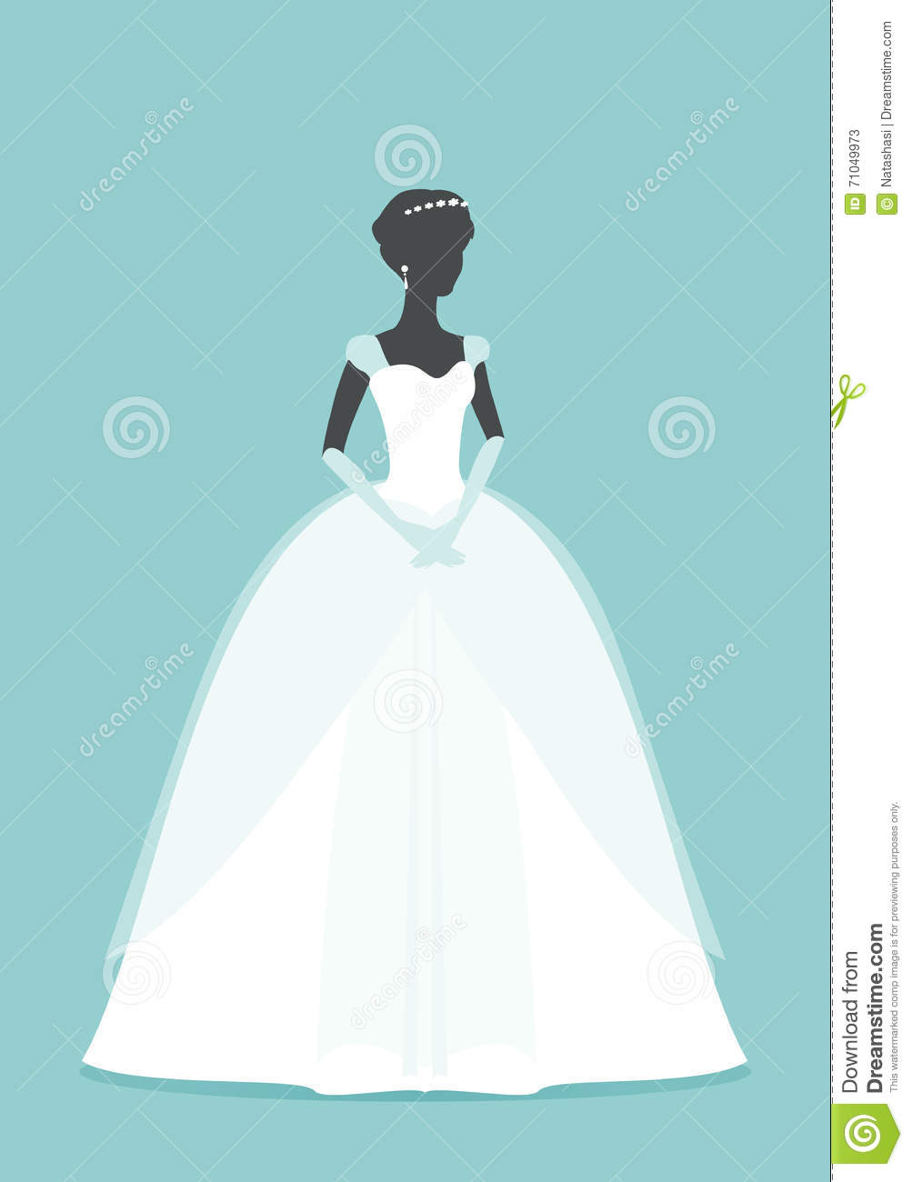 Beautiful Bride. Princess Silhouette With Shadow Stock Vector ...
