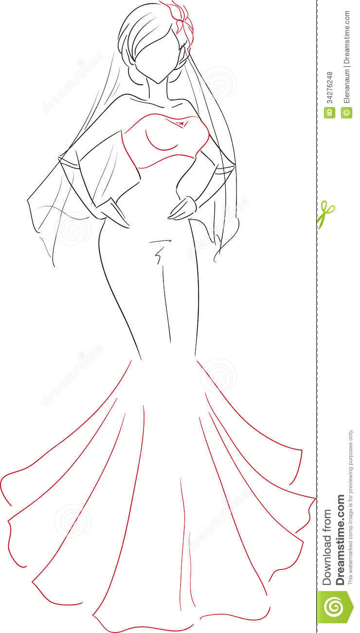 Free wedding dress sketches - Red Wedding Dress And Gloves Theme Wedding Black And Red Color