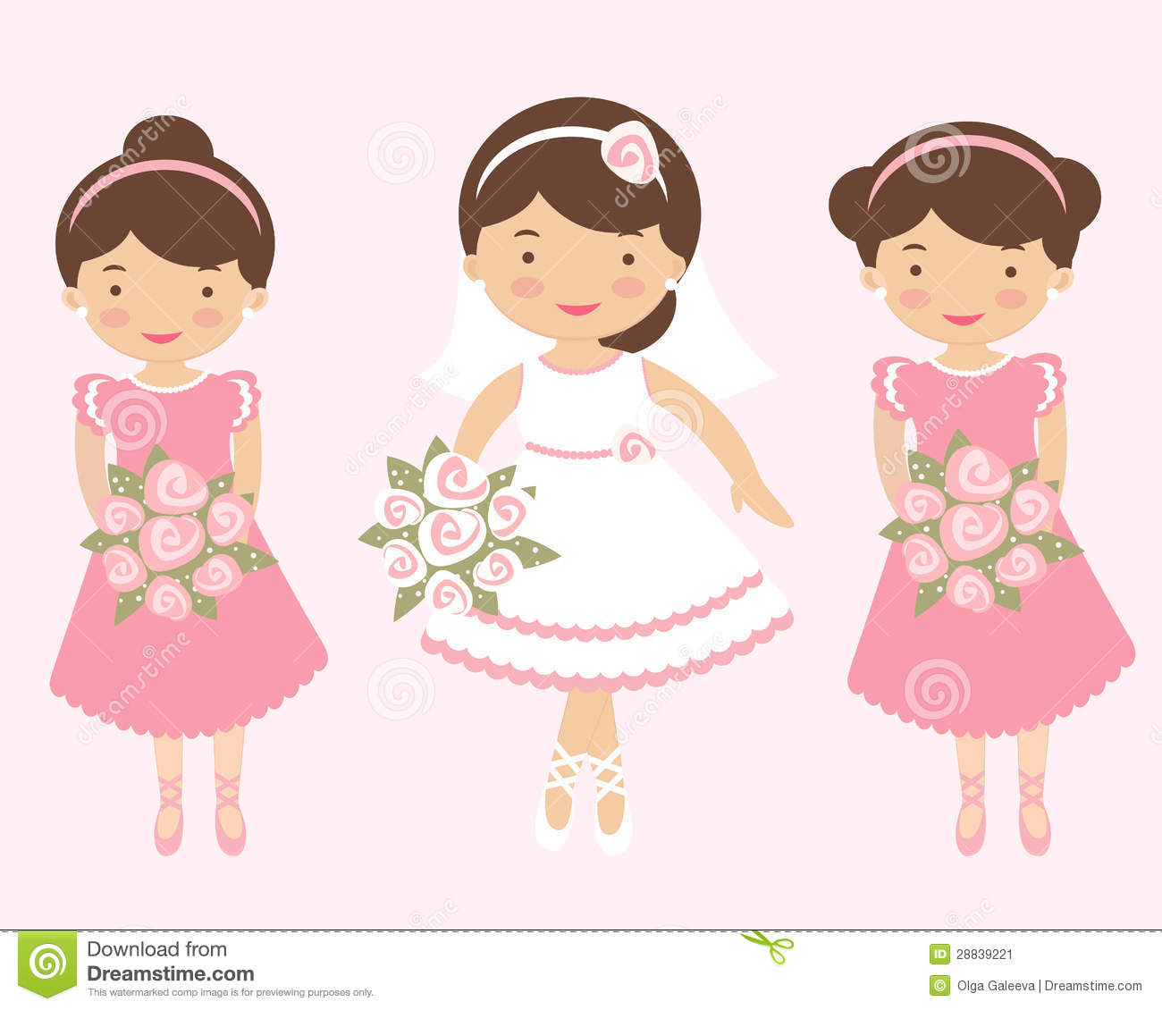beautiful bride with two bridesmaids stock vector