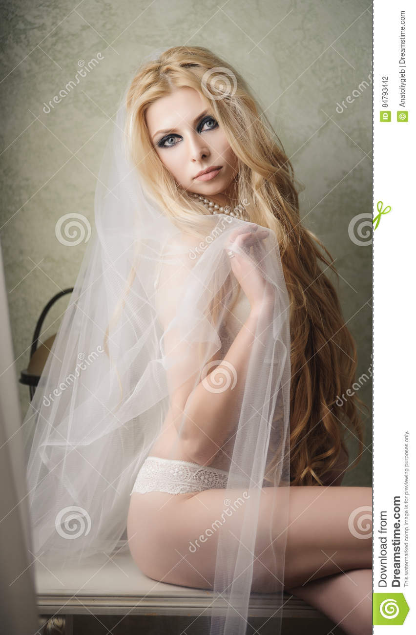 Beautiful Bride Is Wearing Lingerie And Veil On Wedding Day Stock