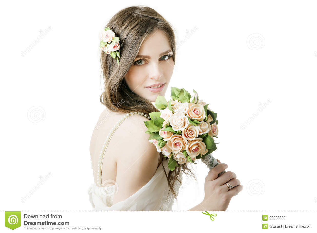 Beautiful Bride With Wedding Bouquet Stock Photo - Image of brunette ...