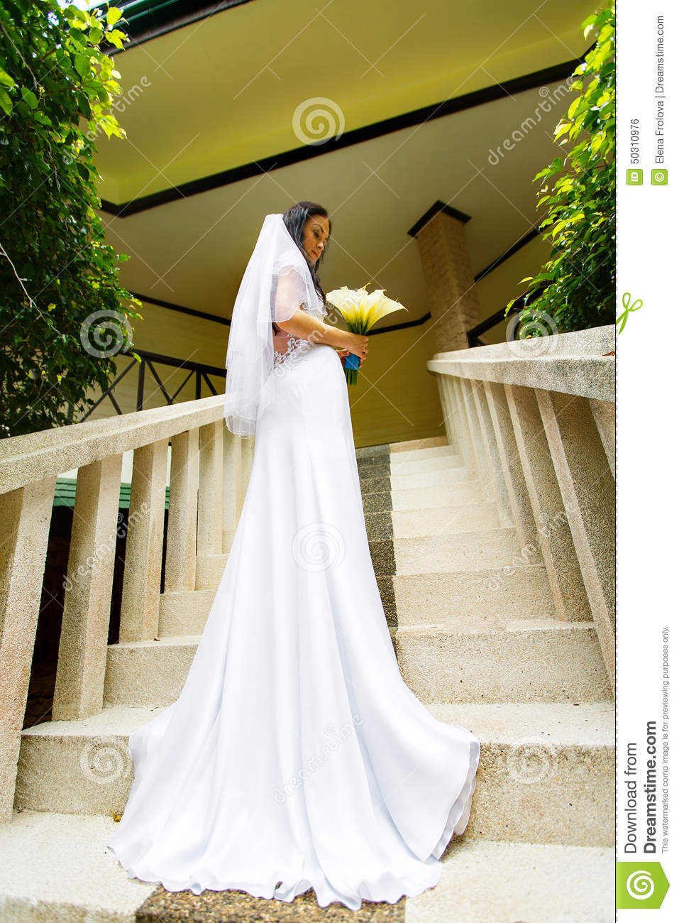 Beautiful bride in wedding dress with long train standing for Wedding dresses in long island