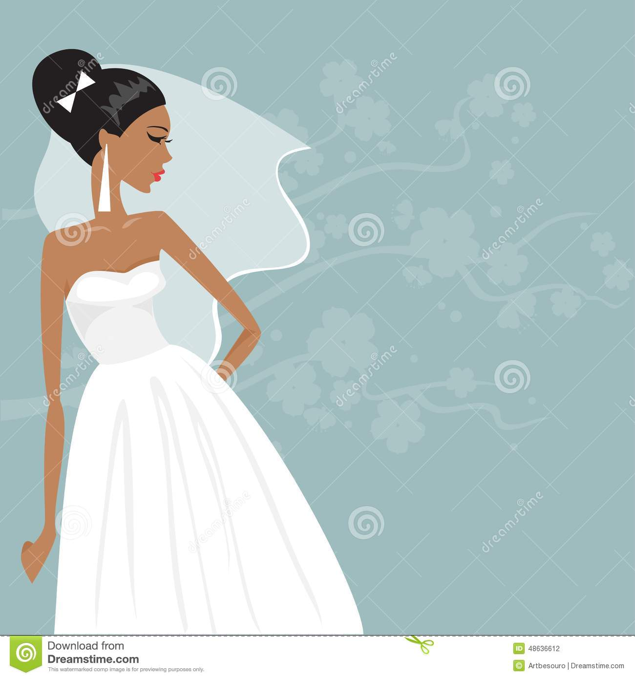 Wedding Gown Illustrations: Beautiful Bride In A Wedding Dress. Vector Illustration