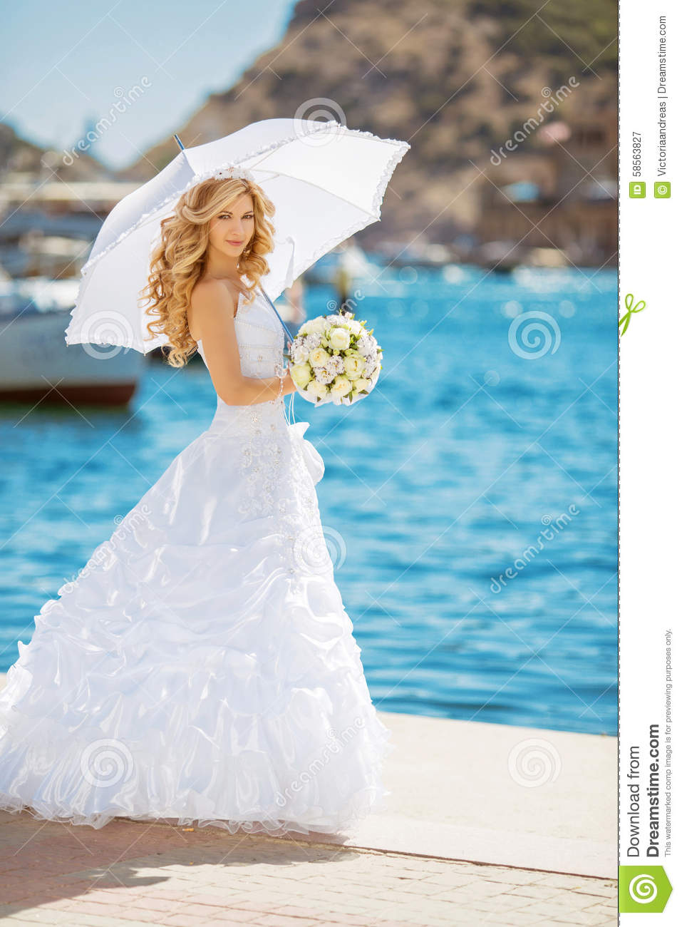 Beautiful Bride In Wedding Dress With White Umbrella, Outdoors P ...