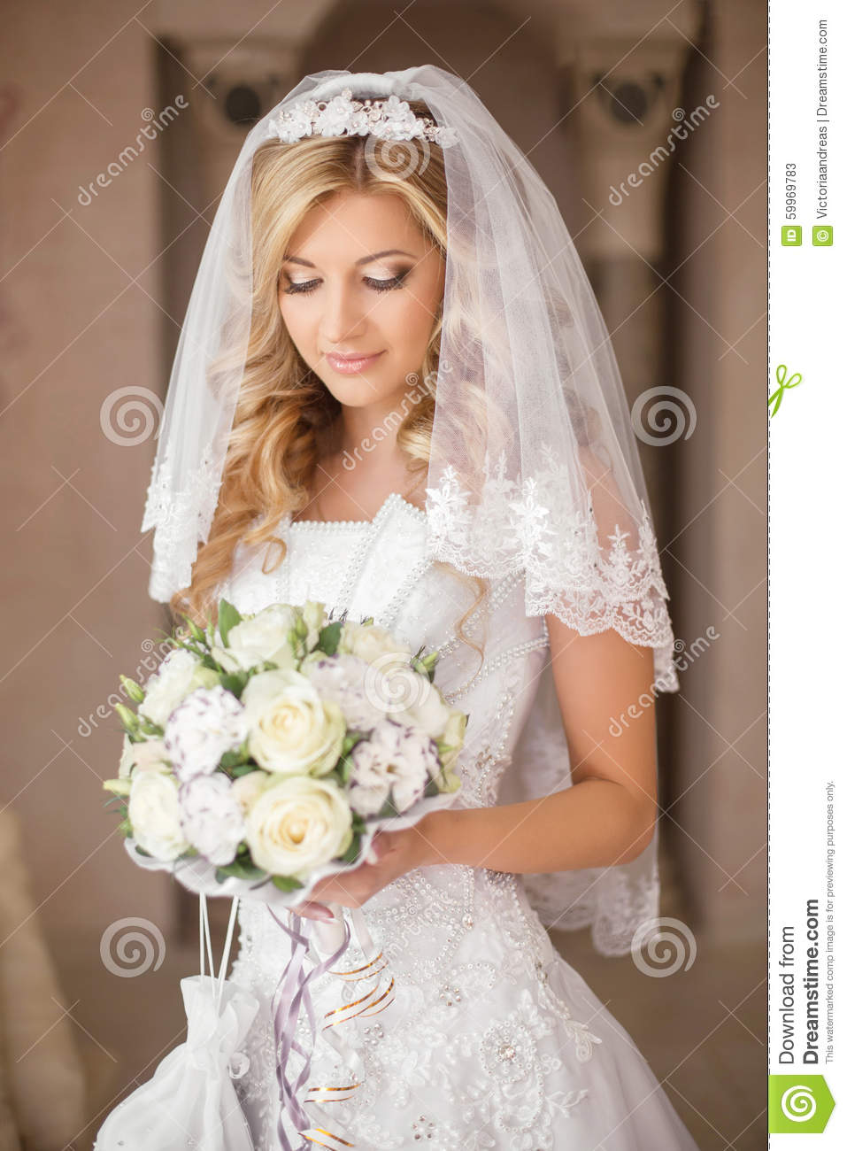 Bride is pretty and