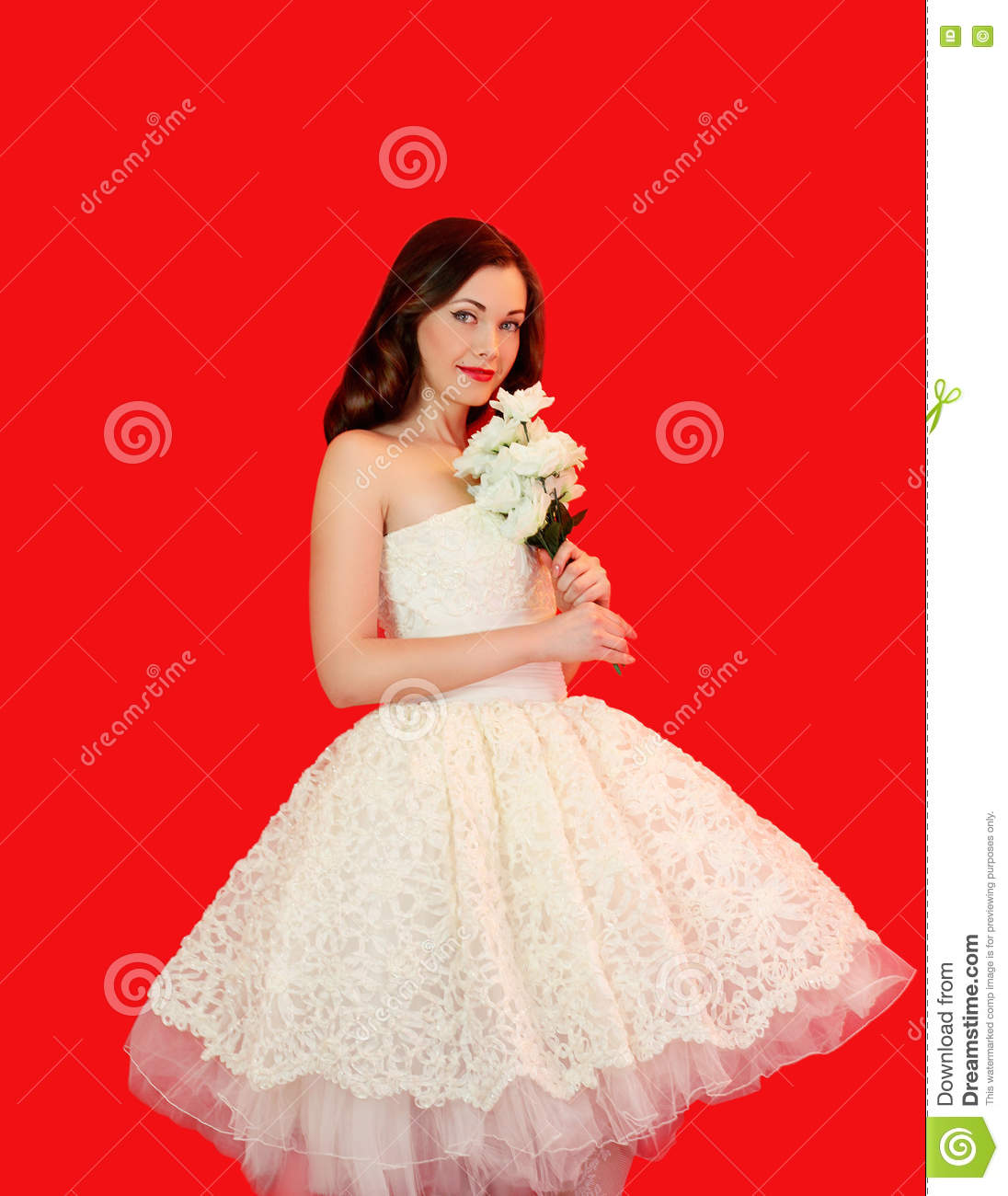 Beautiful Bride Woman In White Wedding Dress With Bouquet Of Flowers