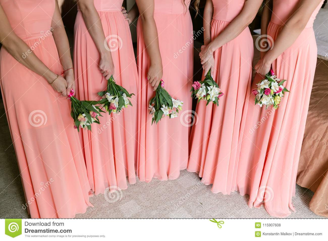 Beautiful Bridesmaids With Bouquets In Home Beauty Model Girls In